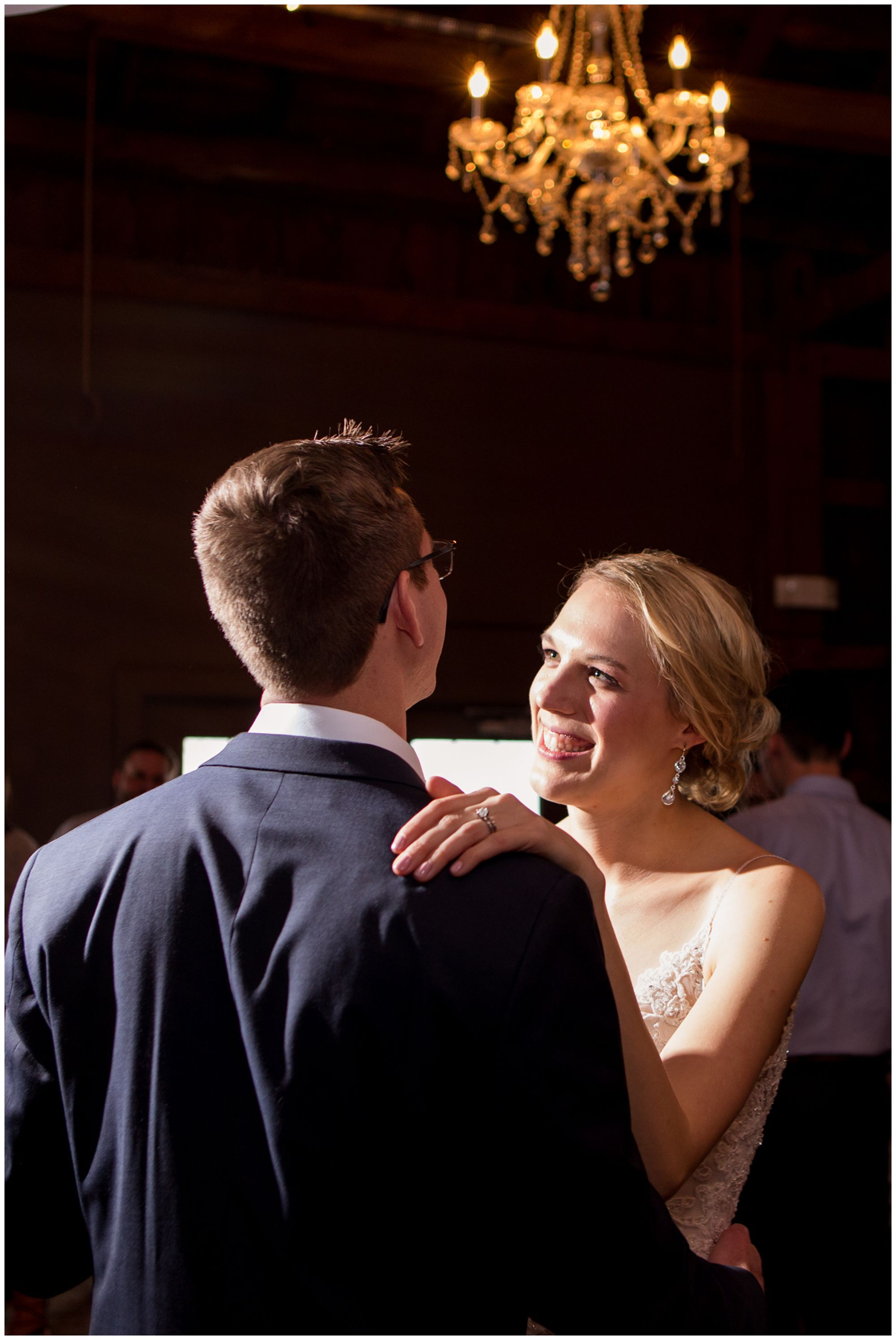 bride and groom dance during Mustard Seed Gardens wedding reception in Noblesville Indiana
