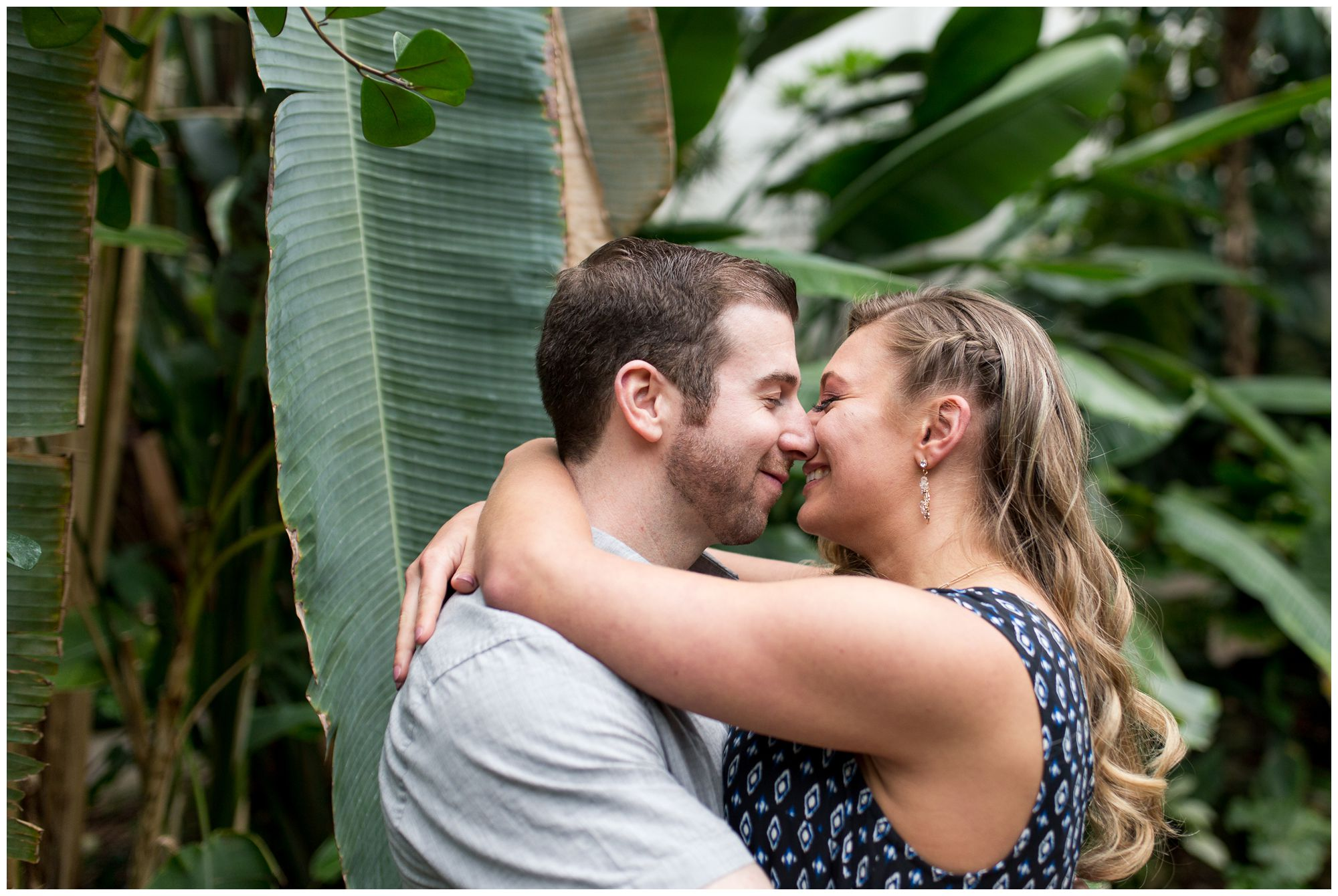 Fort Wayne wedding photographer engagement session at Foellinger-Freimann Botanical Conservatory