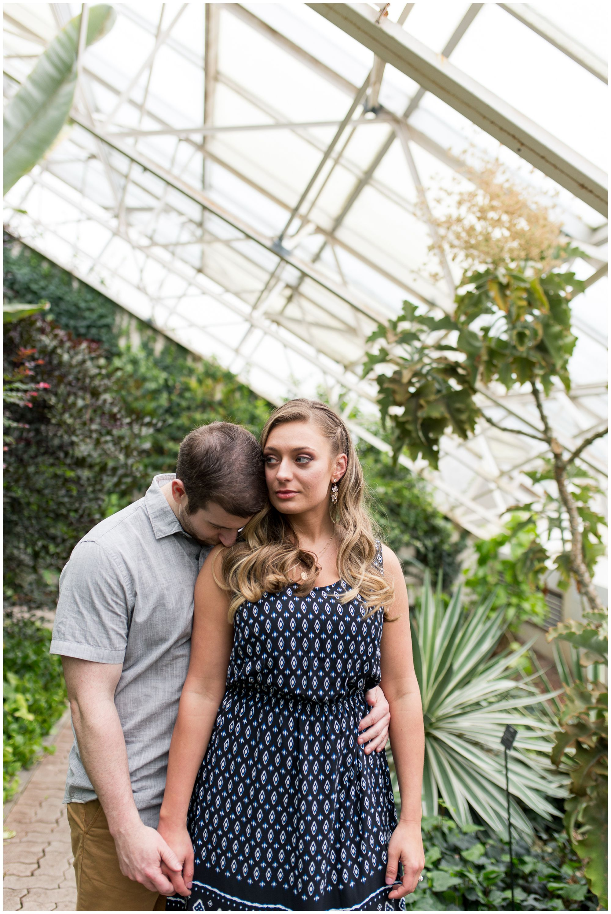 Fort Wayne indoor engagement session at Foellinger-Freimann Botanical Conservatory