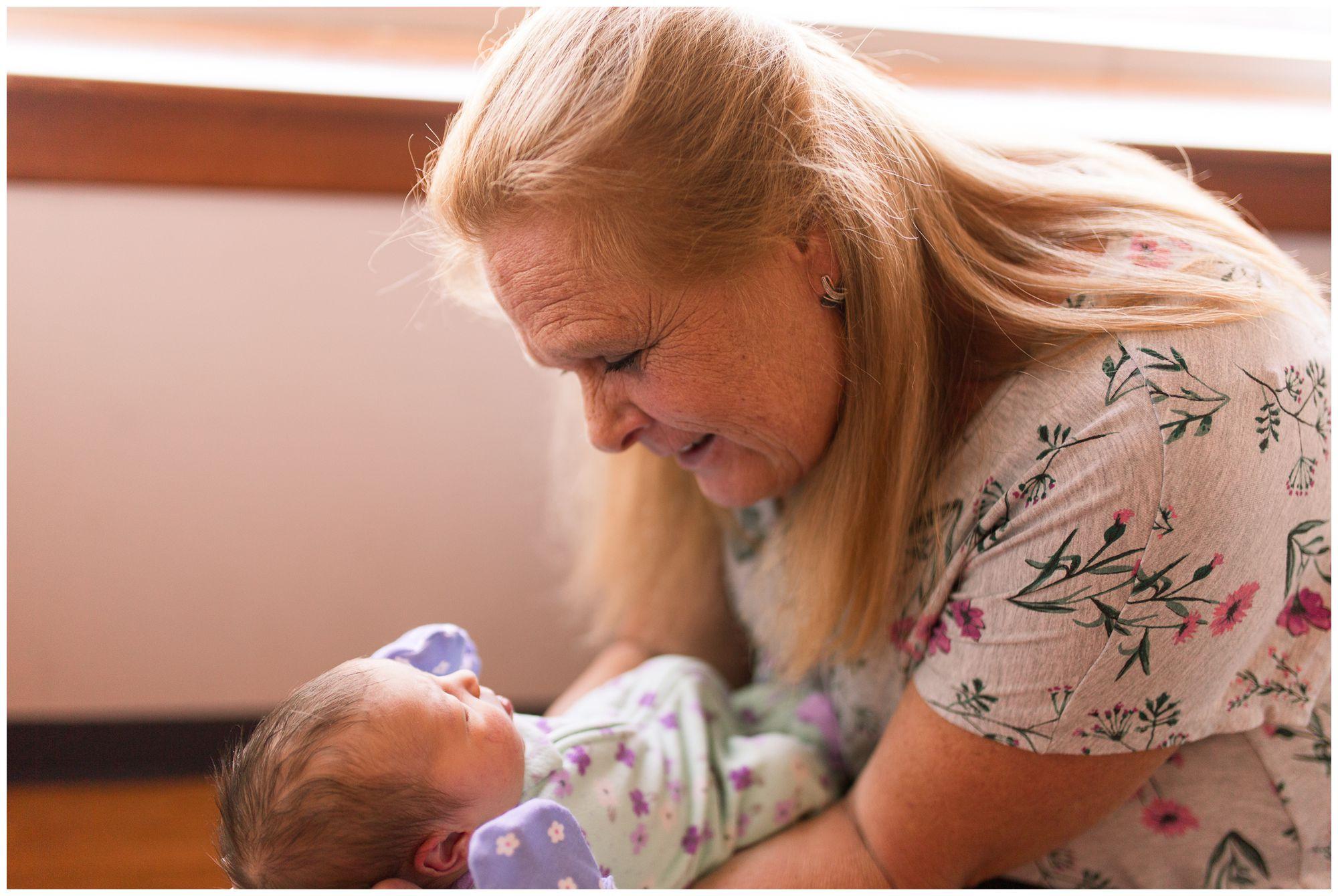 grandma with baby during Community Howard Regional Health newborn session in Kokomo Indiana