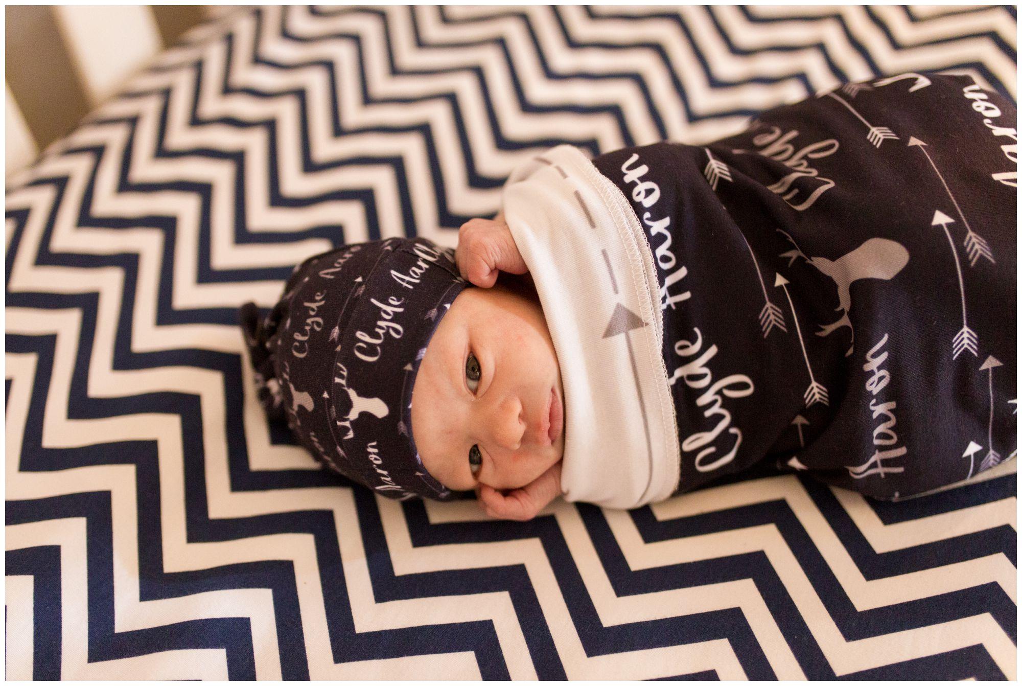 baby in custom swaddle during Kokomo newborn session