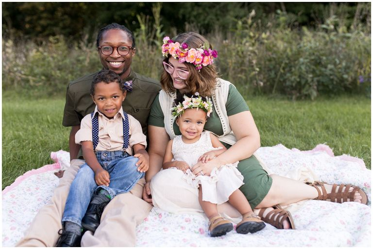 Jackson Morrow Park Kokomo family session with floral crowns