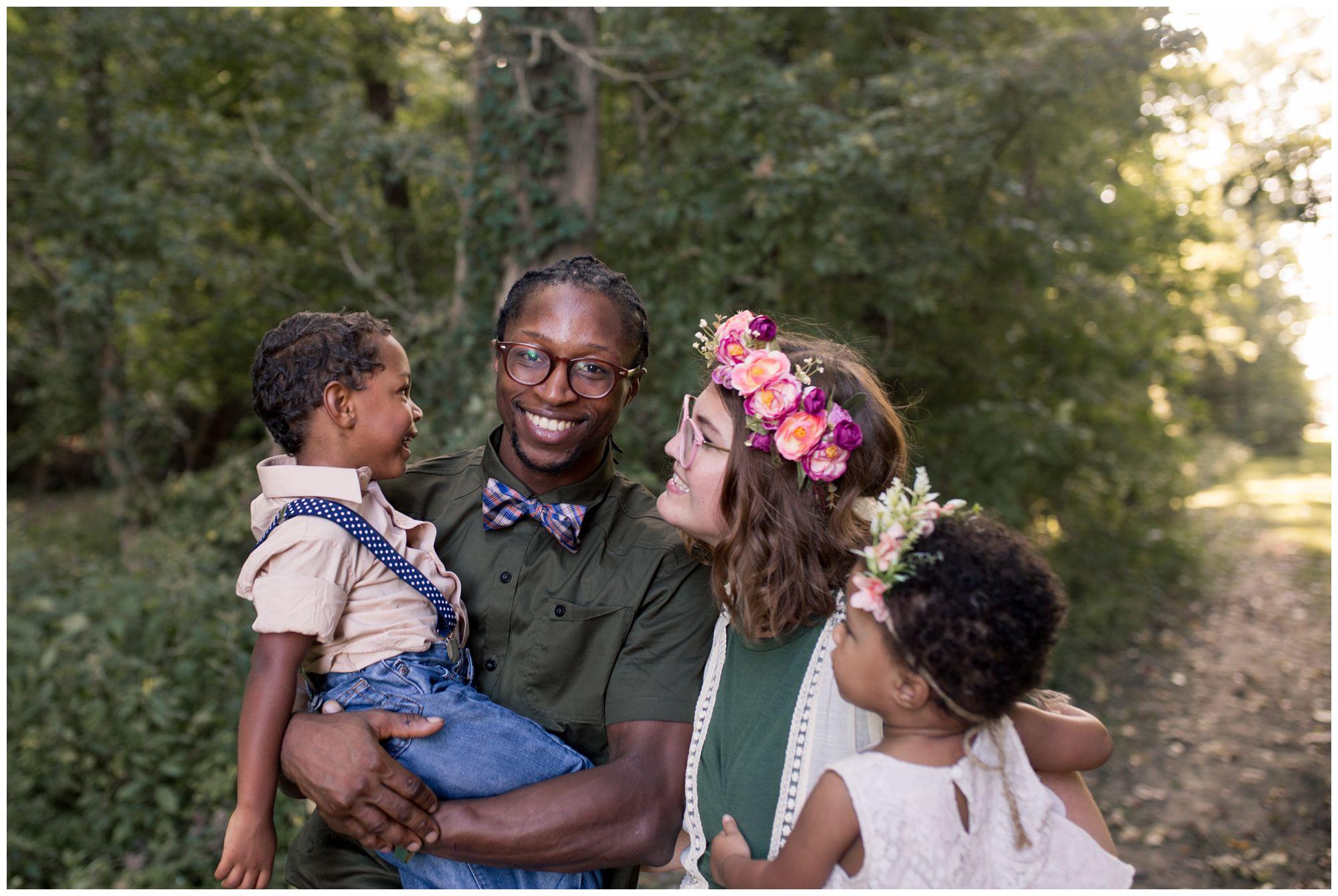 mom smiling at son during Kokomo family session at Jackson Morrow Park