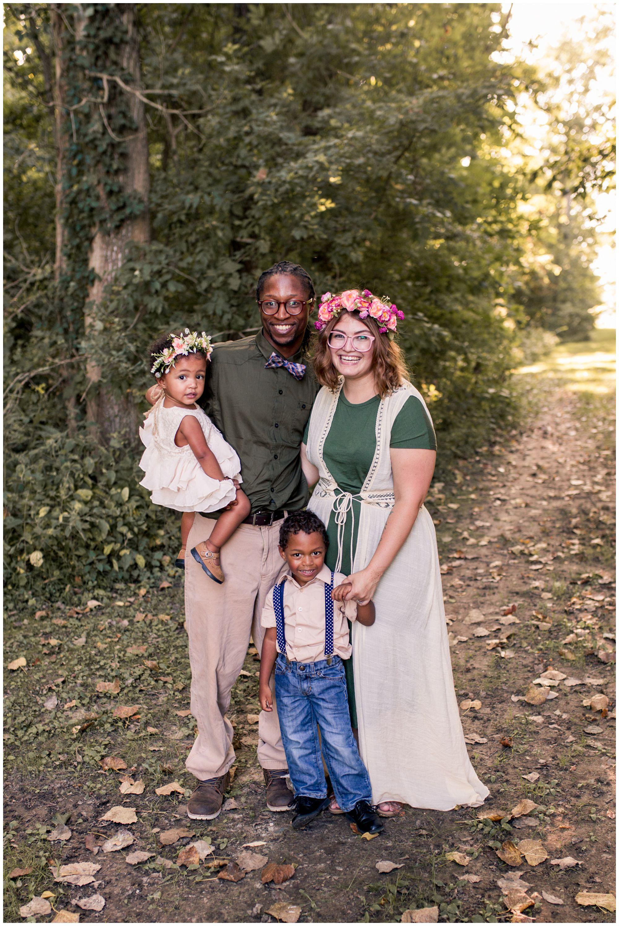 Kokomo family session in woods at Jackson Morrow Park
