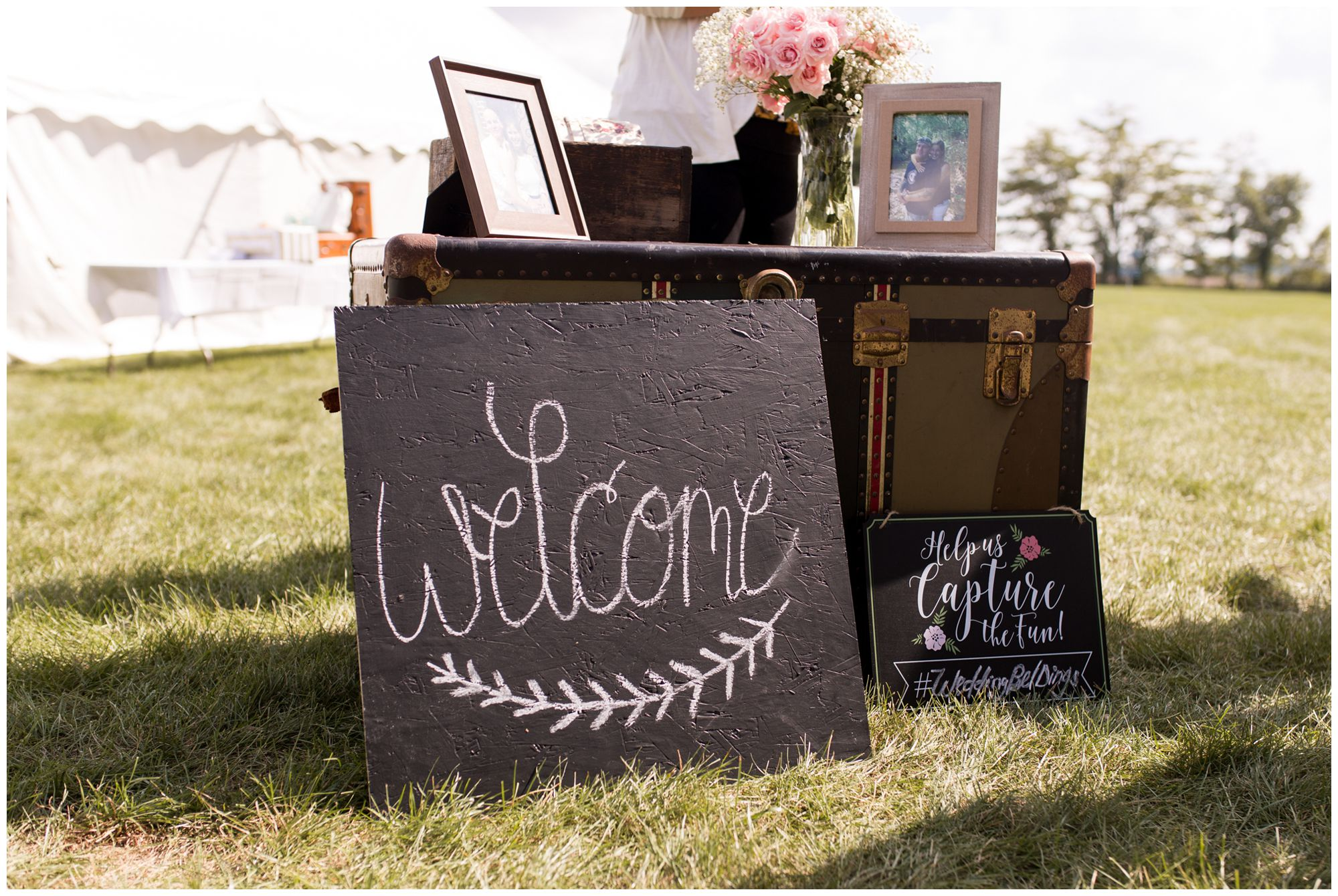 welcome sign with hashtag sign for ceremony decor