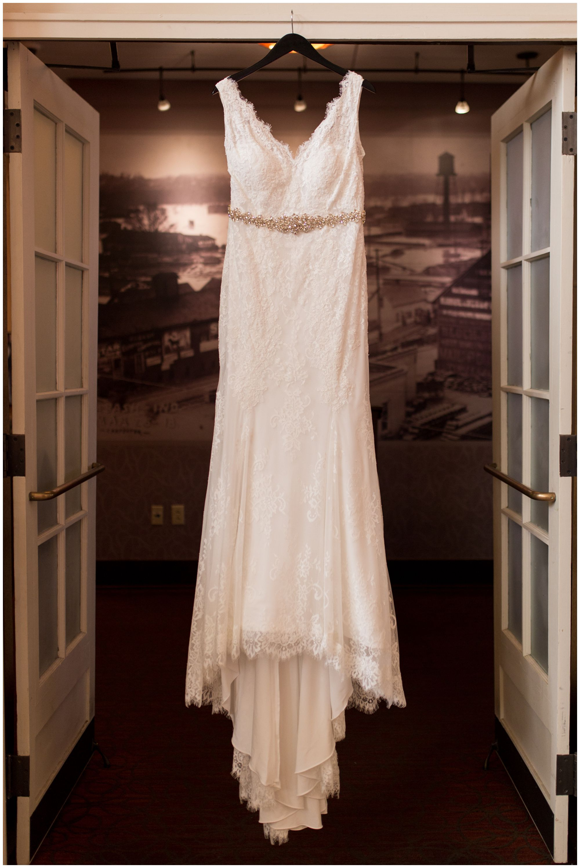 bride's dress from Ellen's Bridal in Wabash Indiana before wedding at Charley Creek Inn