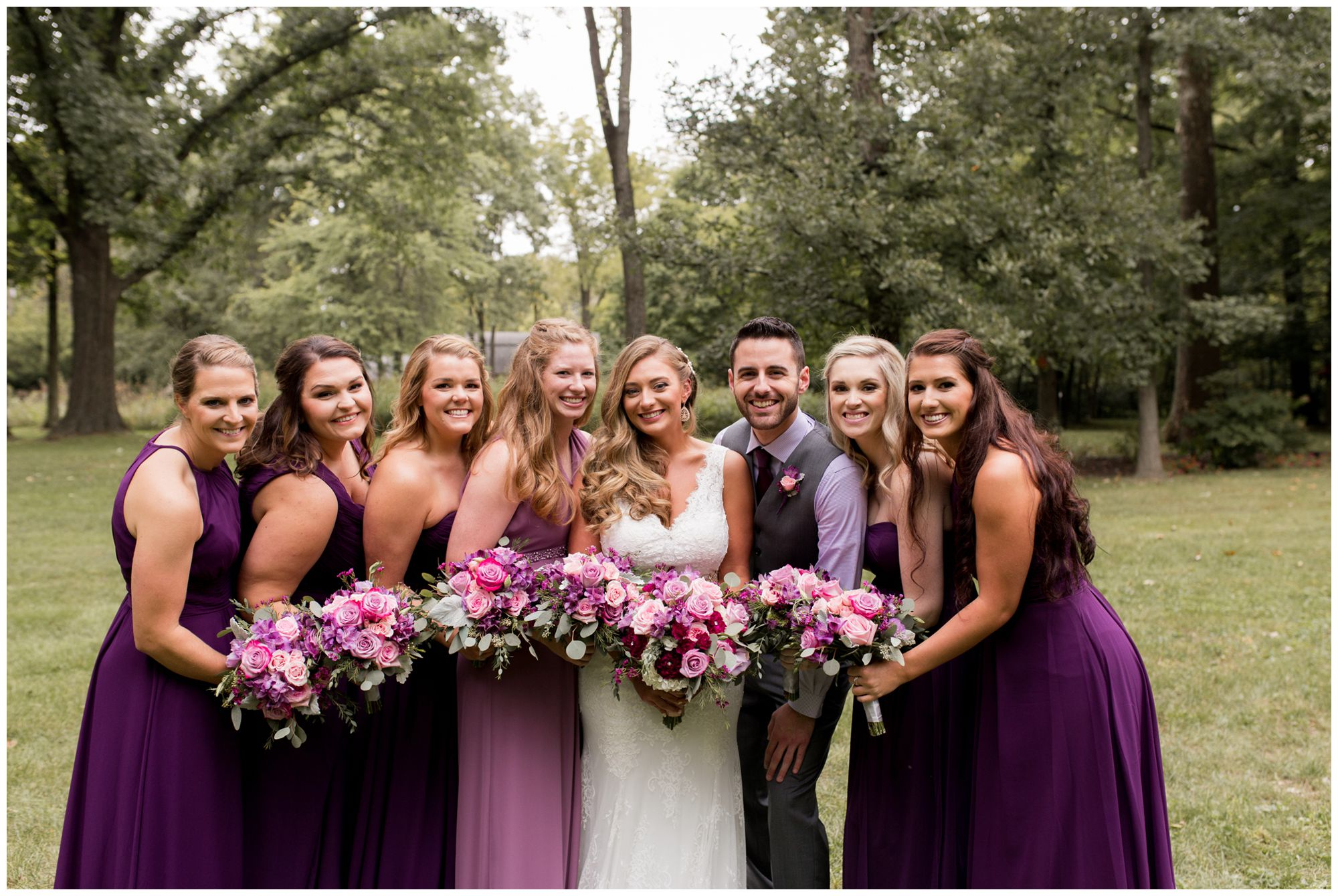 bridal party photos during Wabash wedding photography at Charley Creek Gardens