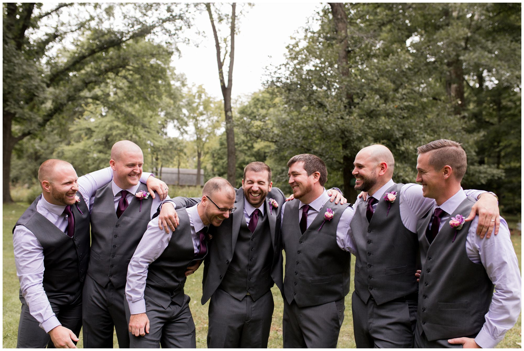 wedding party photos during Wabash wedding photography at Charley Creek Gardens