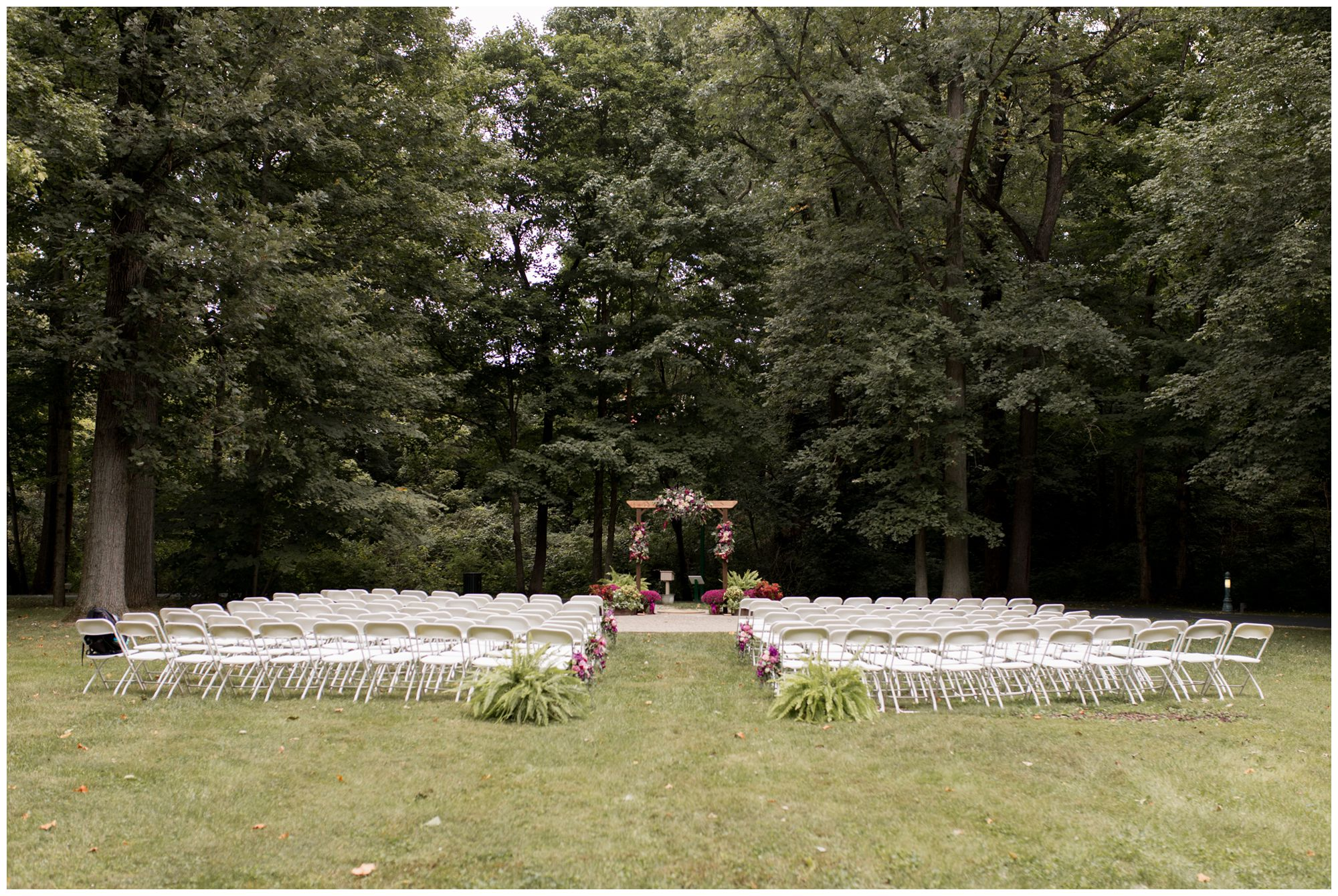 wedding ceremony at Charley Creek Gardens in Wabash Indiana