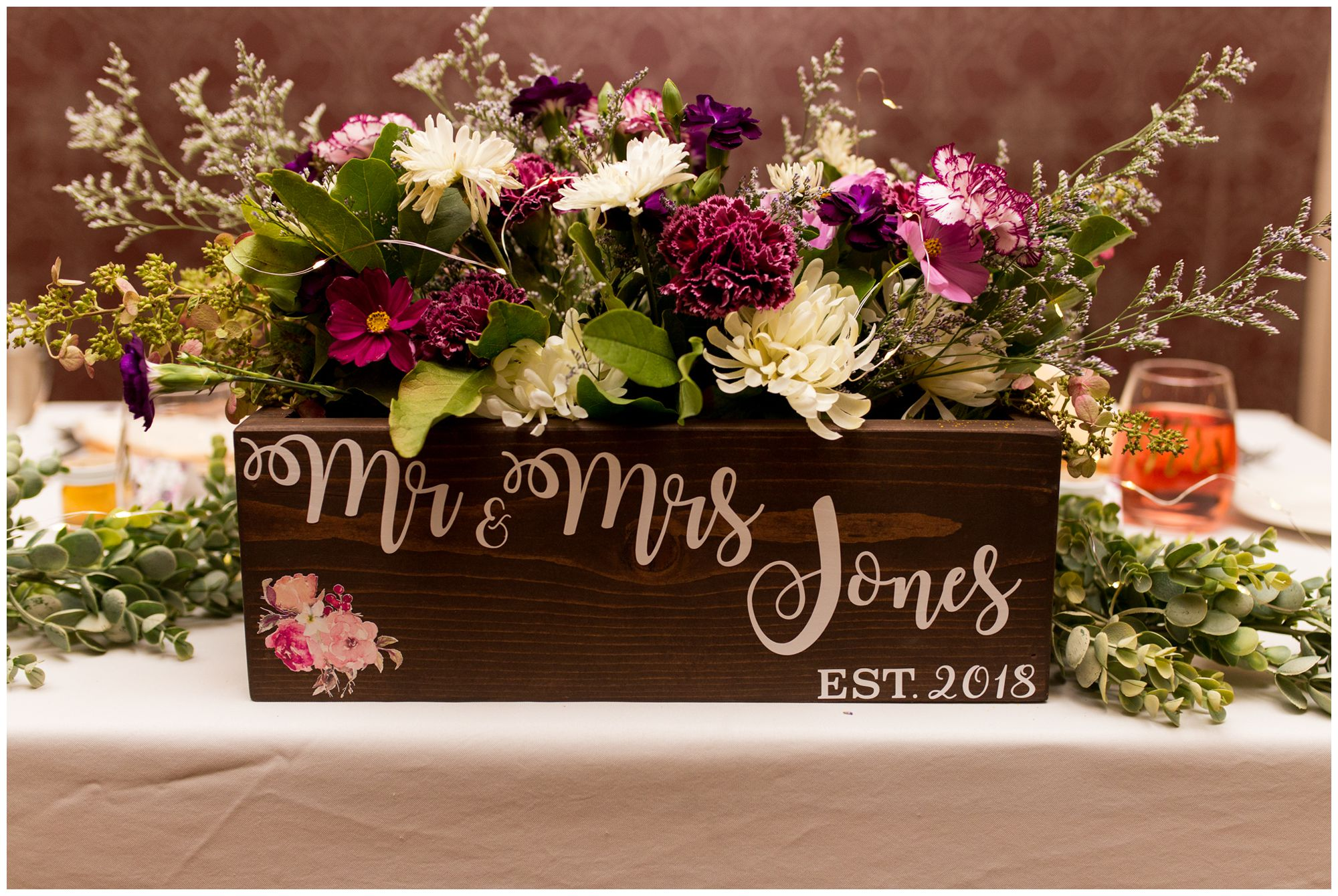 monogrammed wooden box for Wabash Indiana wedding reception decor