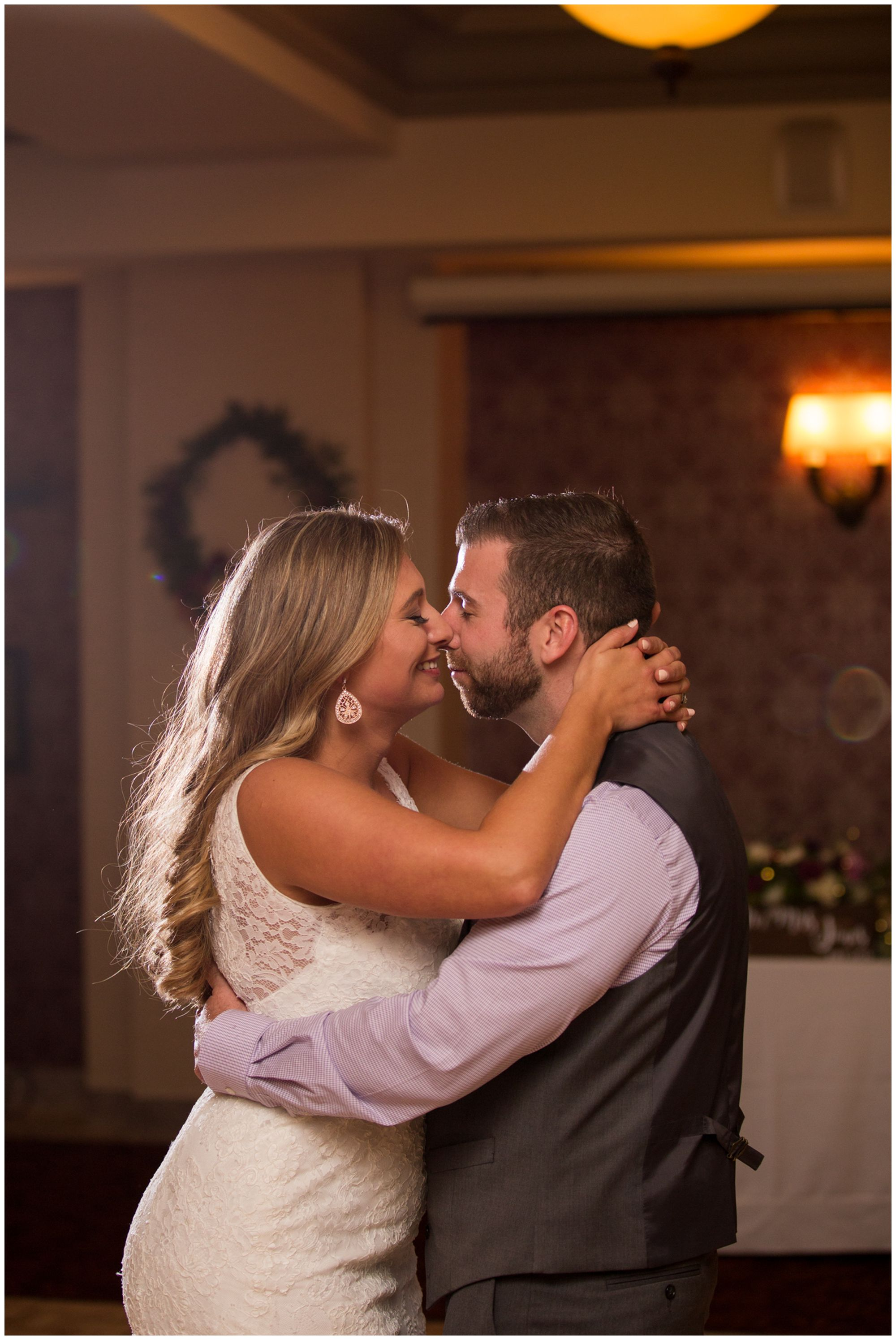 bride and groom first dance during Wabash Indiana wedding reception at Charley Creek Inn