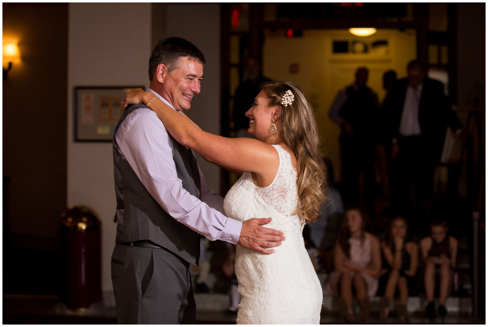 bride and father share dance during Wabash Indiana wedding reception at Charley Creek Inn