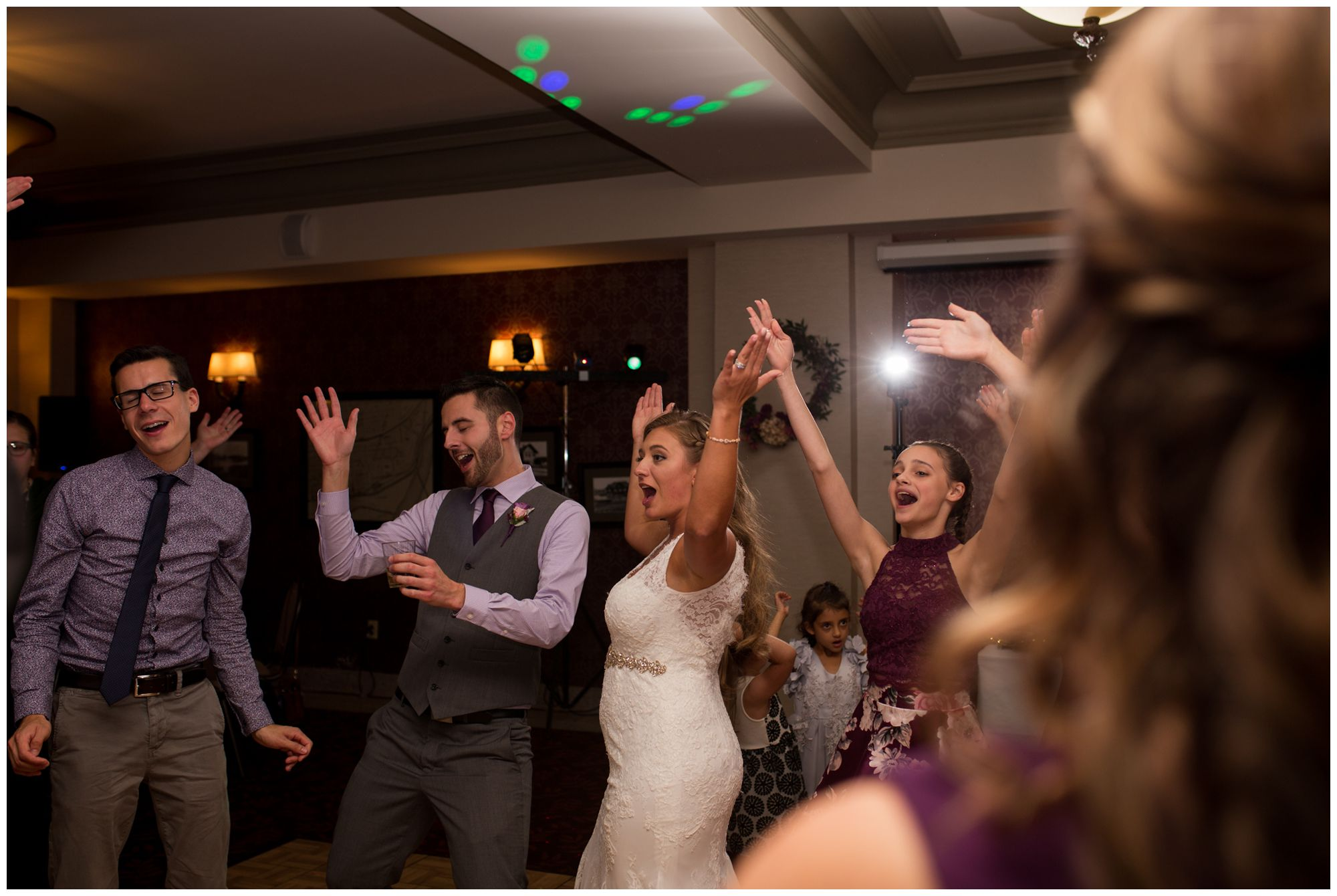 Wabash Indiana wedding reception photography at Charley Creek Inn