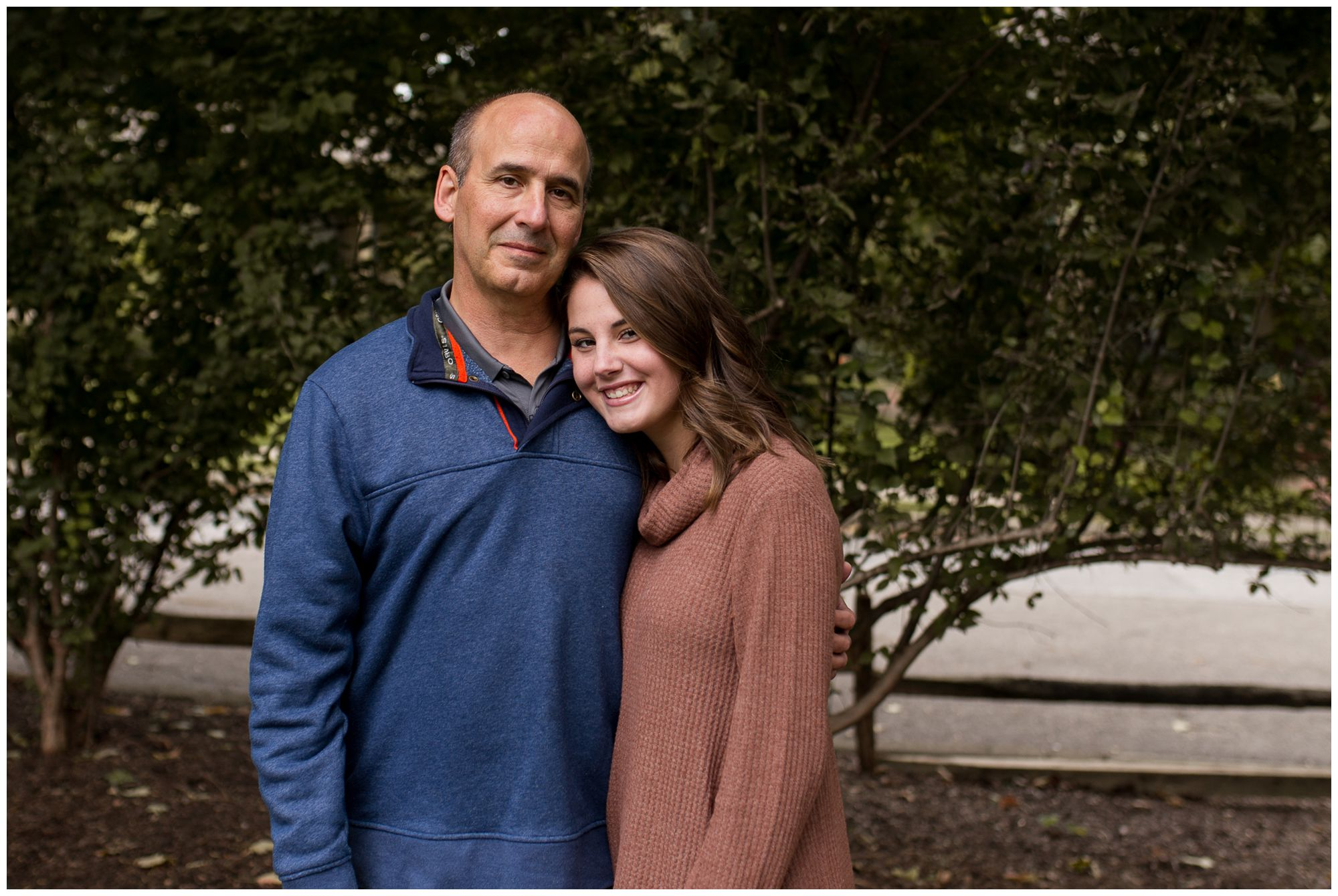daughter and father during downtown Zionsville family session