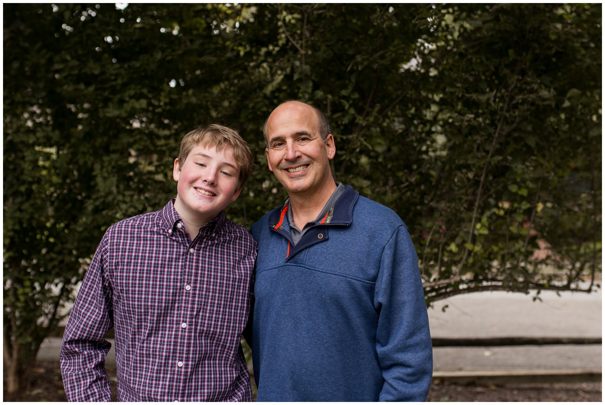 father and son during downtown Zionsville family session
