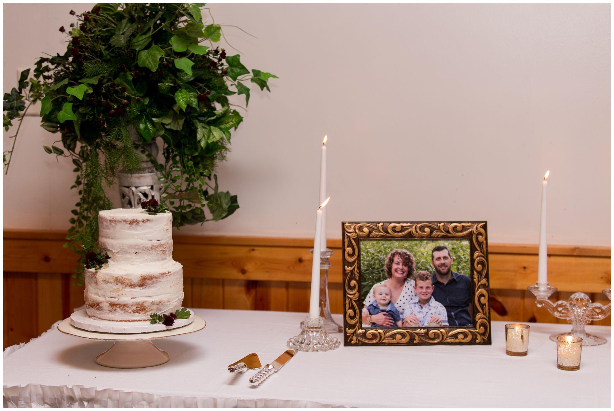 wedding reception cake table in Peru Indiana