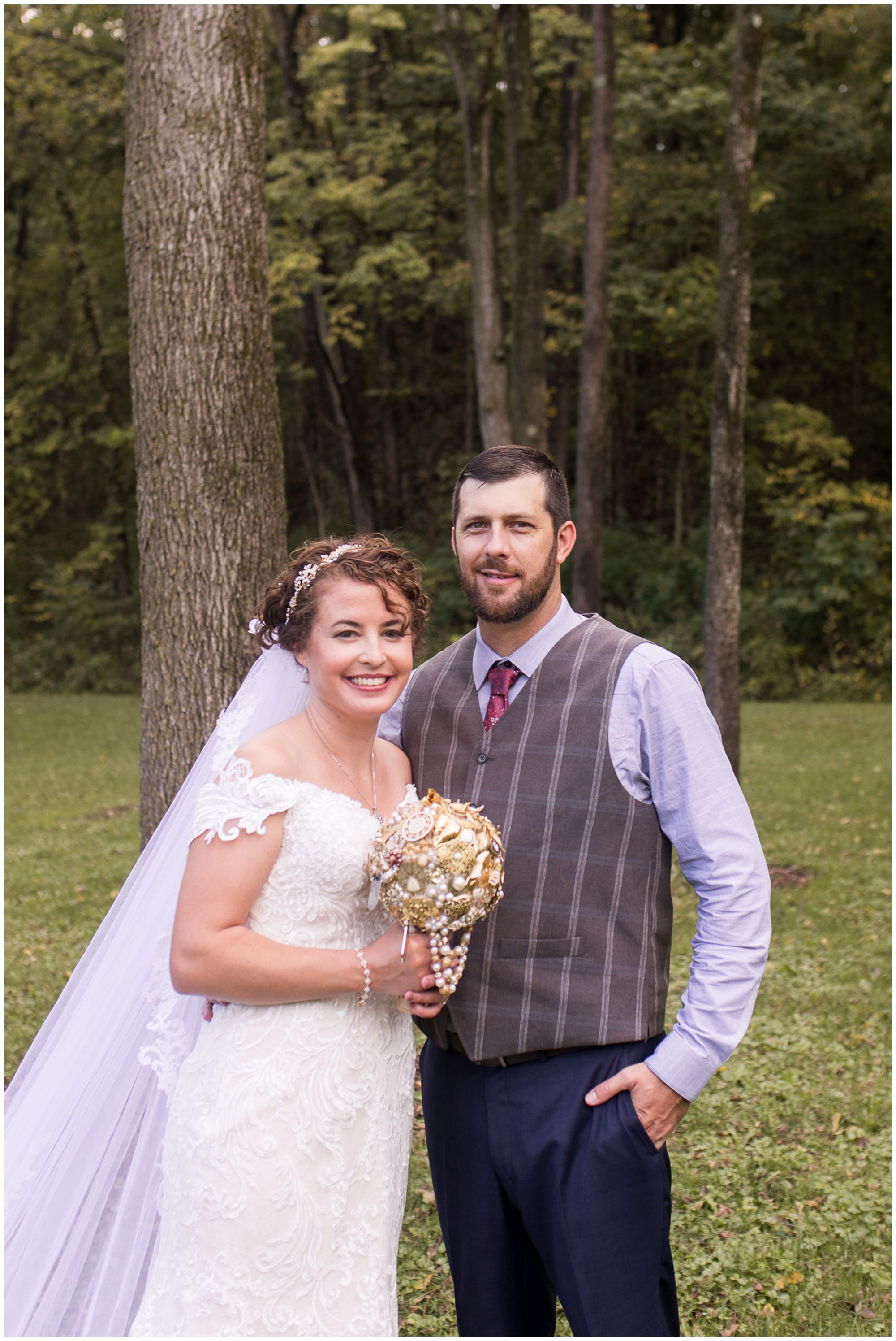 bride and groom wedding portraits at Western Howard Conservation Club in Peru Indiana