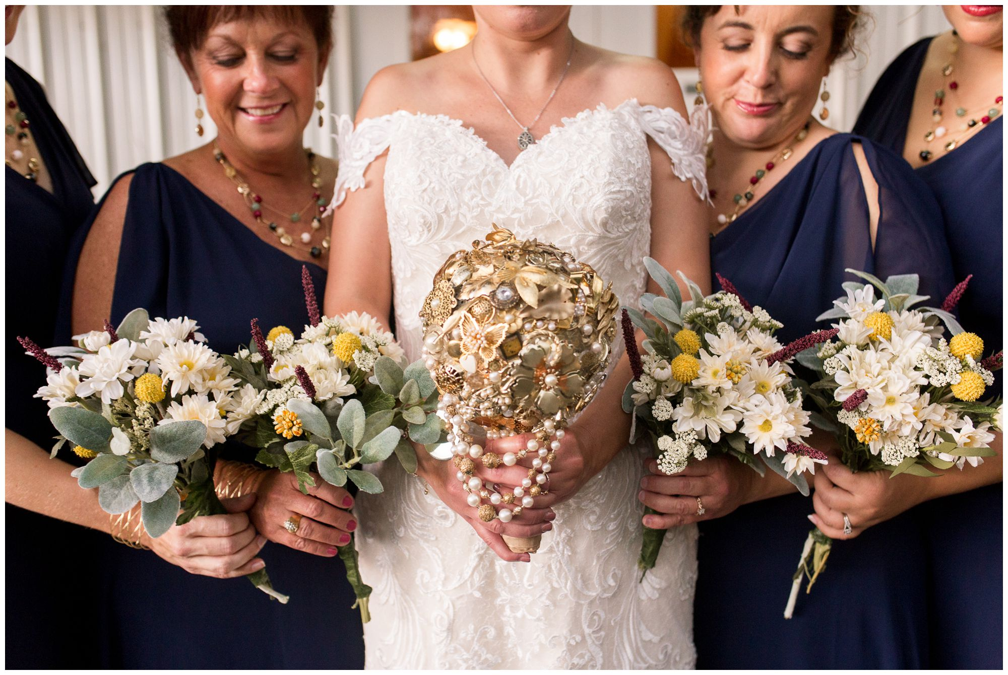 bride and bridesmaid wedding bouquets at Western Howard Conservation Club in Peru, Indiana