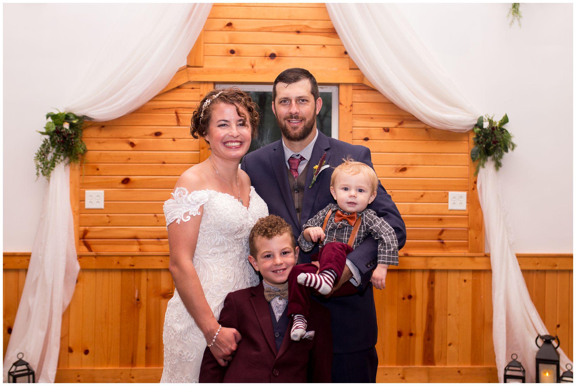 bride, groom and kids before wedding ceremony in Peru Indiana