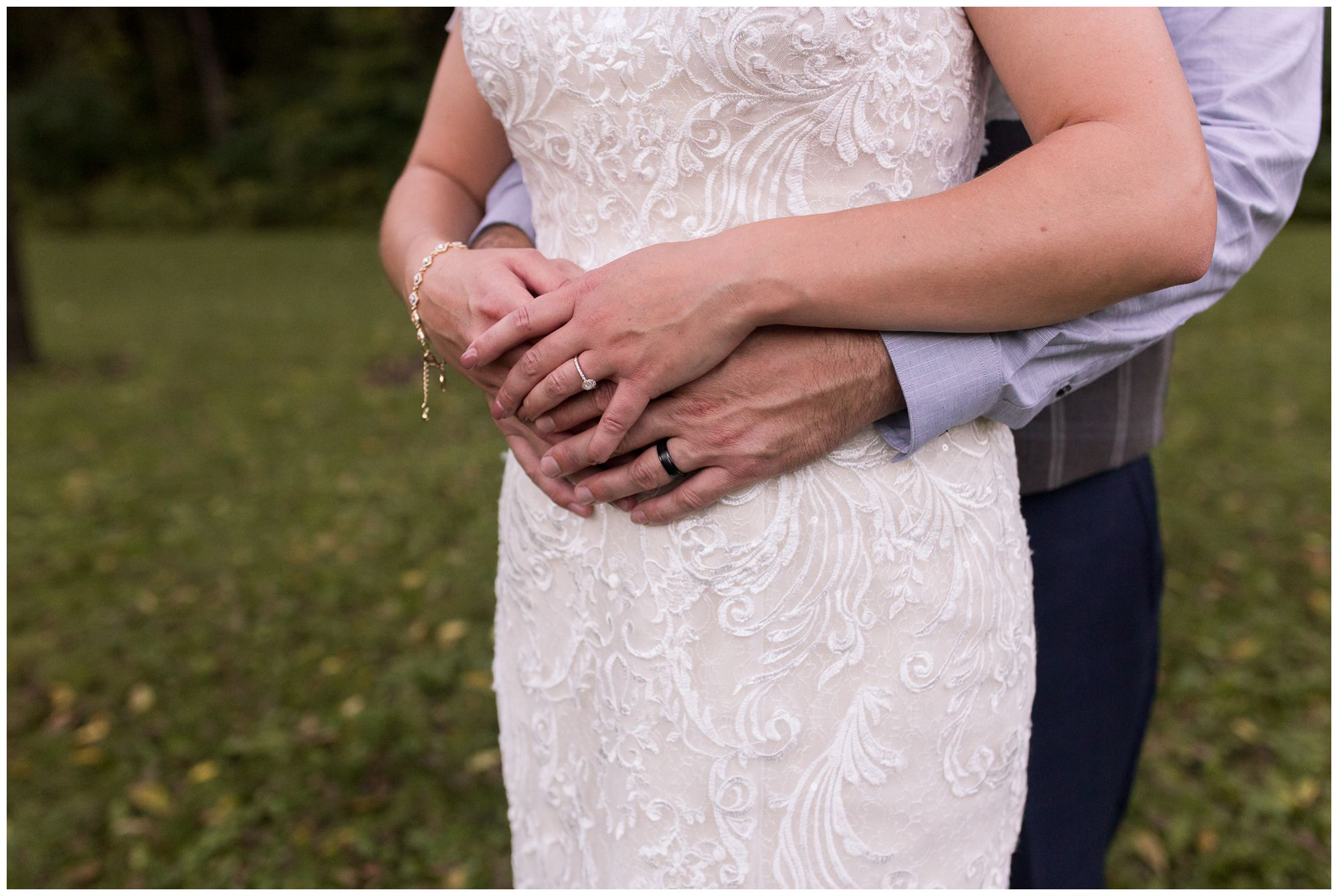 close up of bride and groom hands during wedding portraits in Peru Indiana