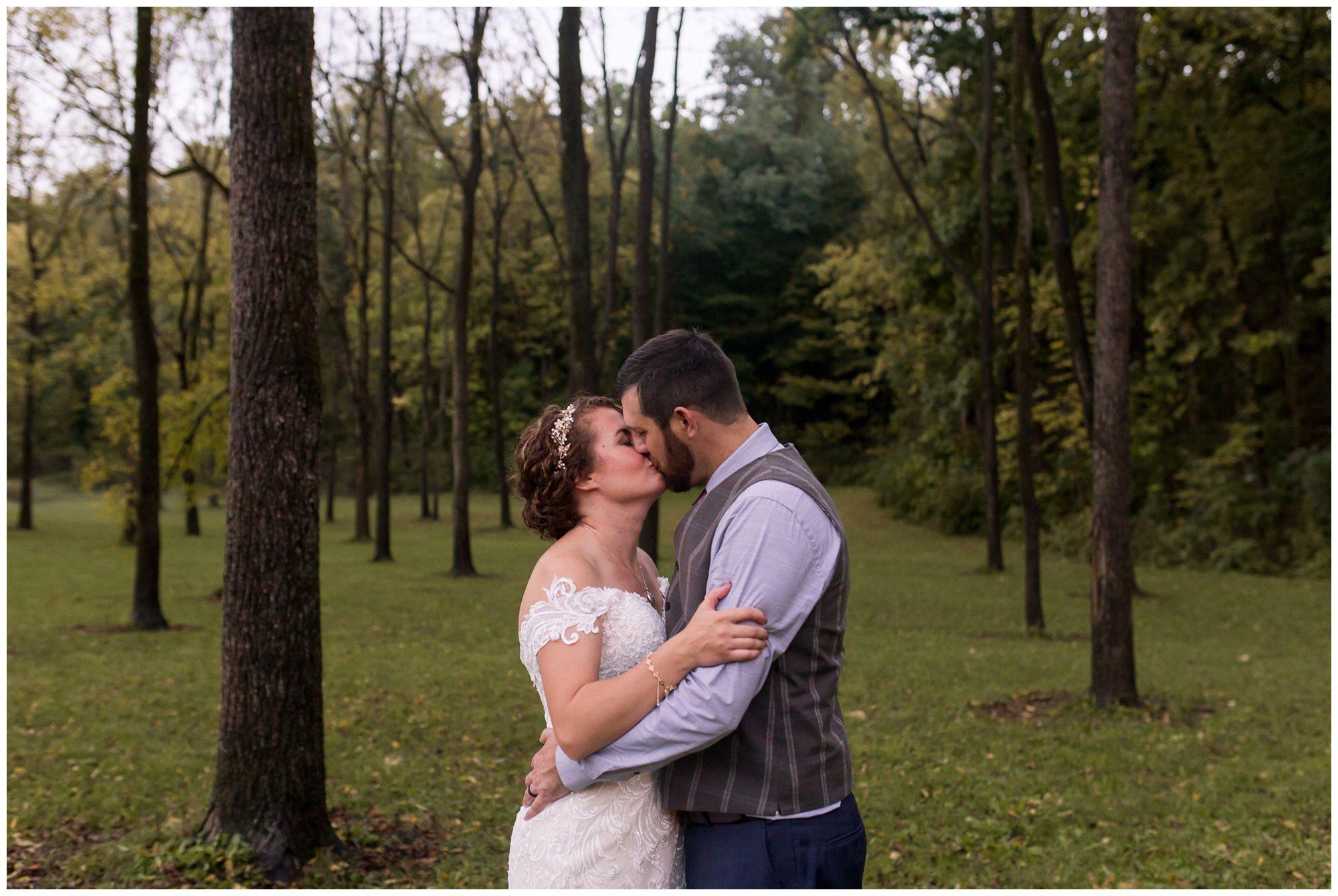 bride and groom portraits during Peru Indiana wedding