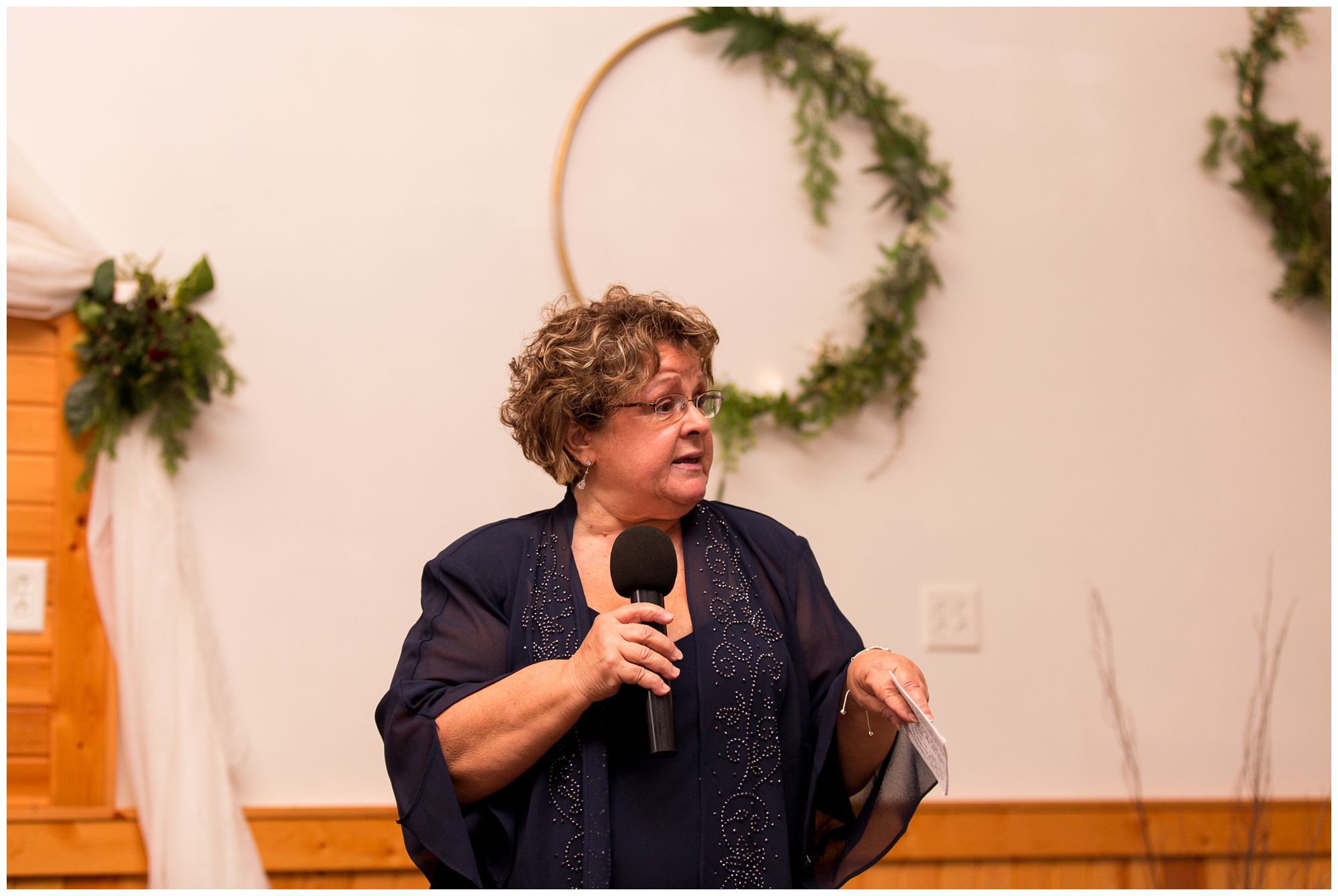 mother of bride giving toast during Peru Indiana wedding reception