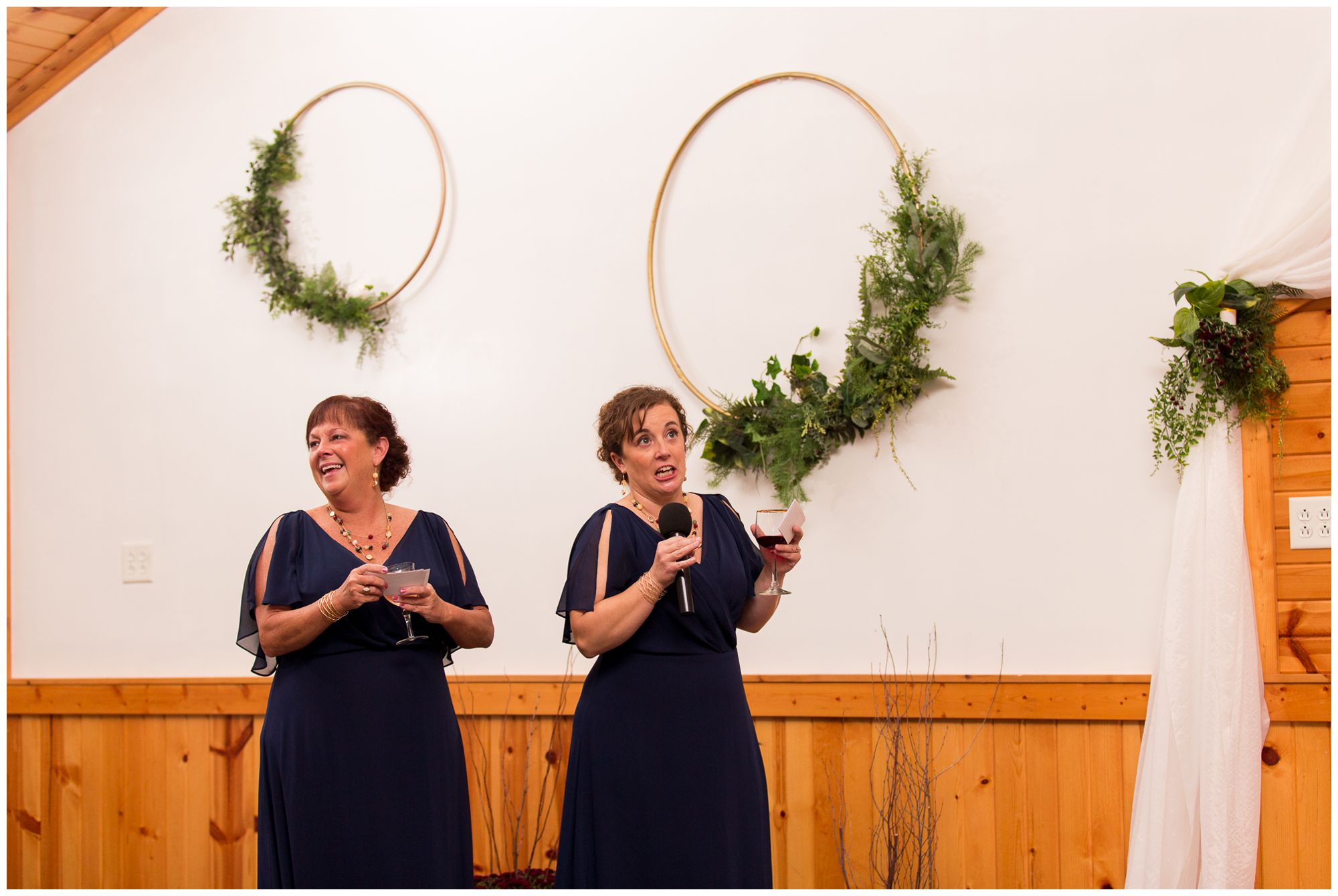 bridesmaids giving toast during wedding reception in Peru Indiana