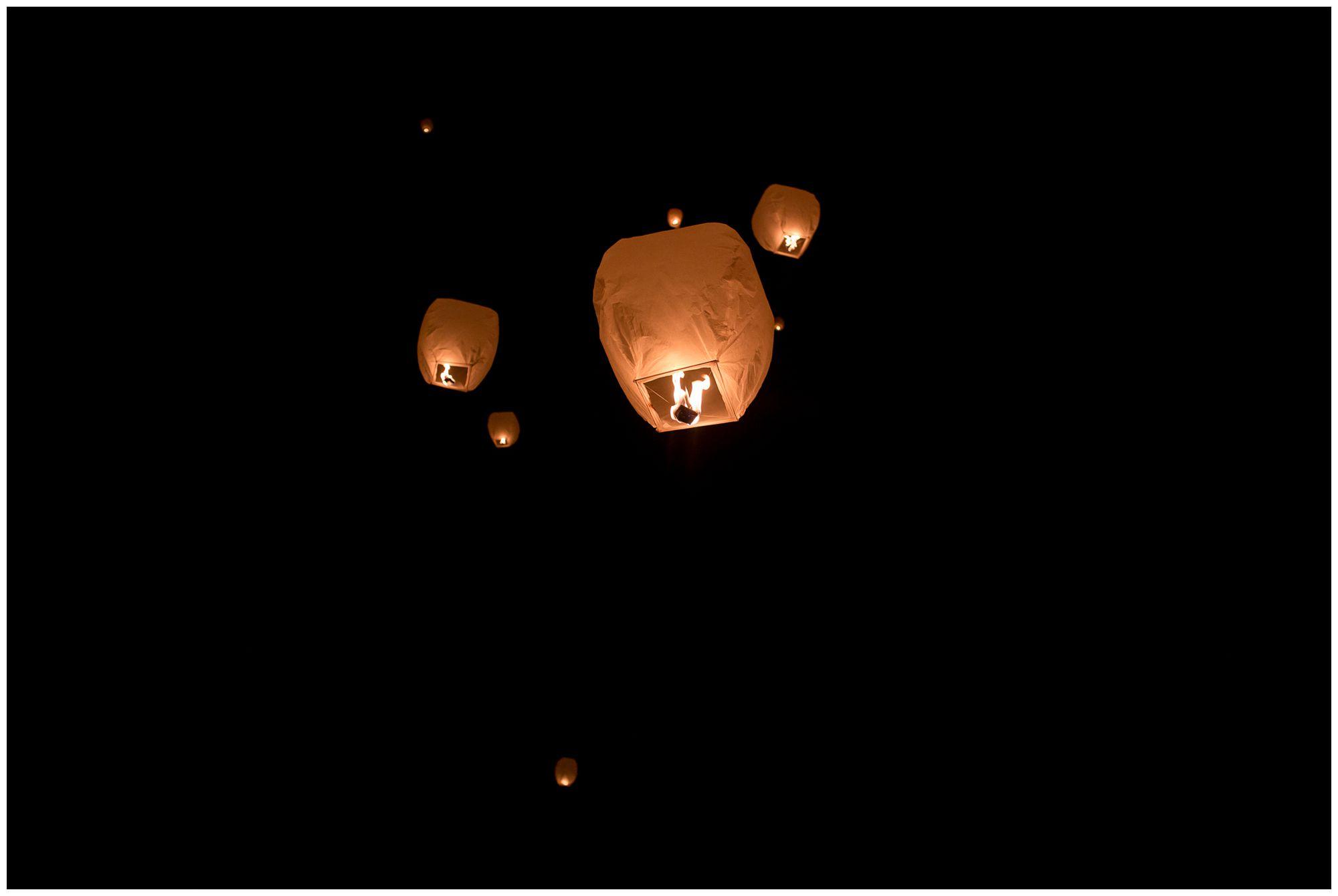 Chinese lantern release during Peru Indiana wedding reception