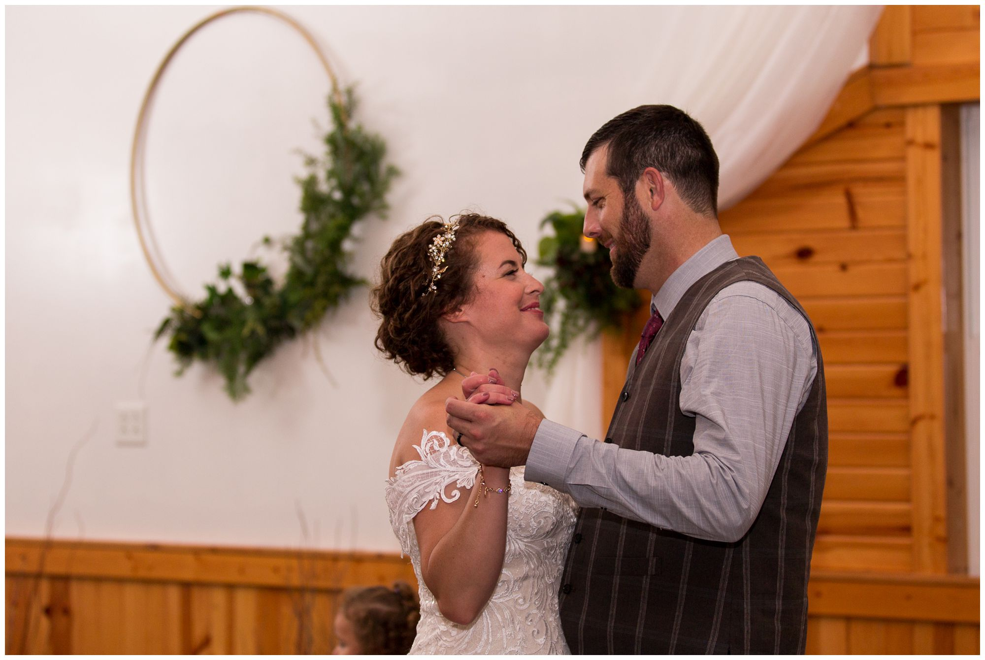 bride and groom first dance at Western Howard Conservation Club in Peru Indiana
