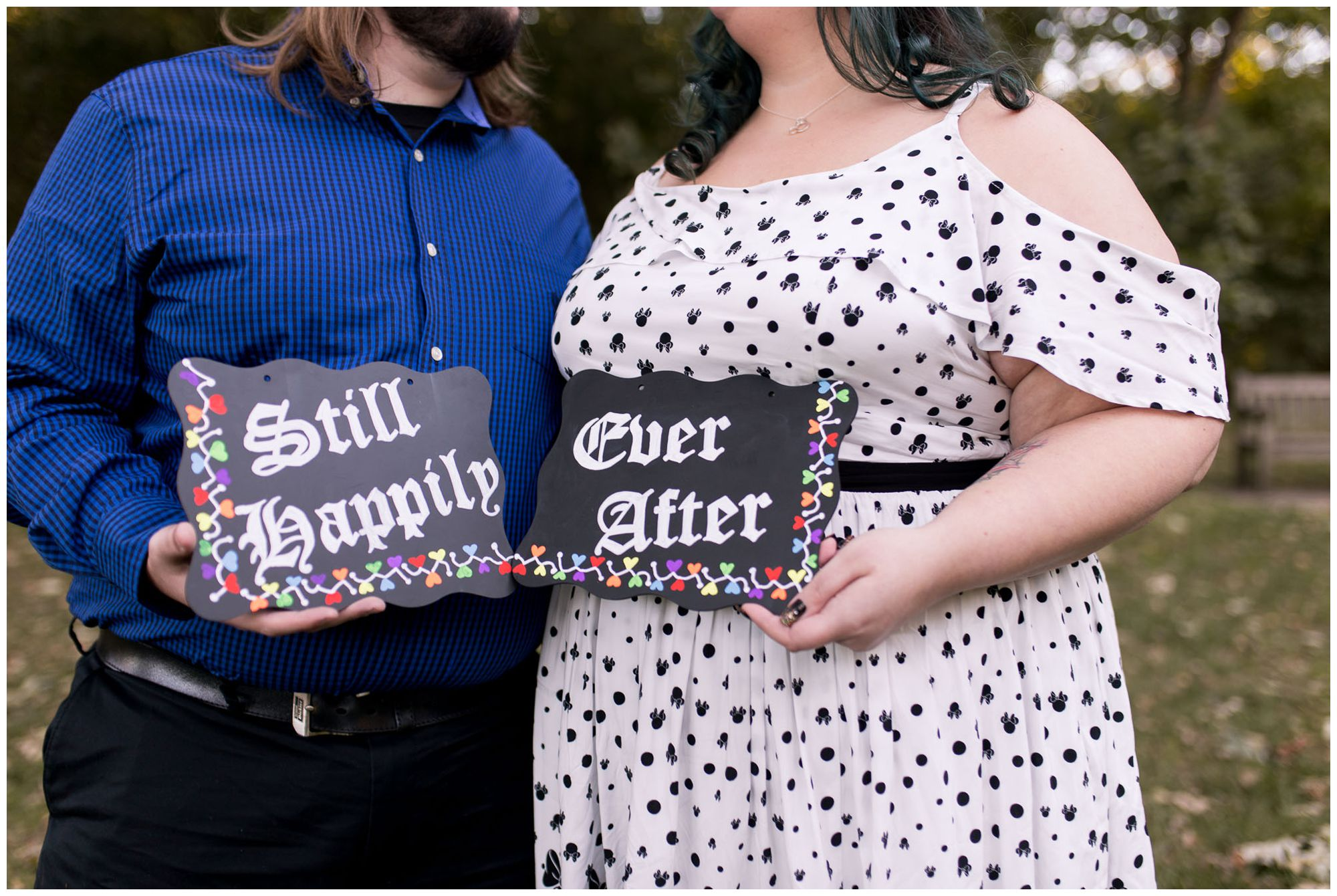 still happily ever after signs during Indianapolis anniversary session