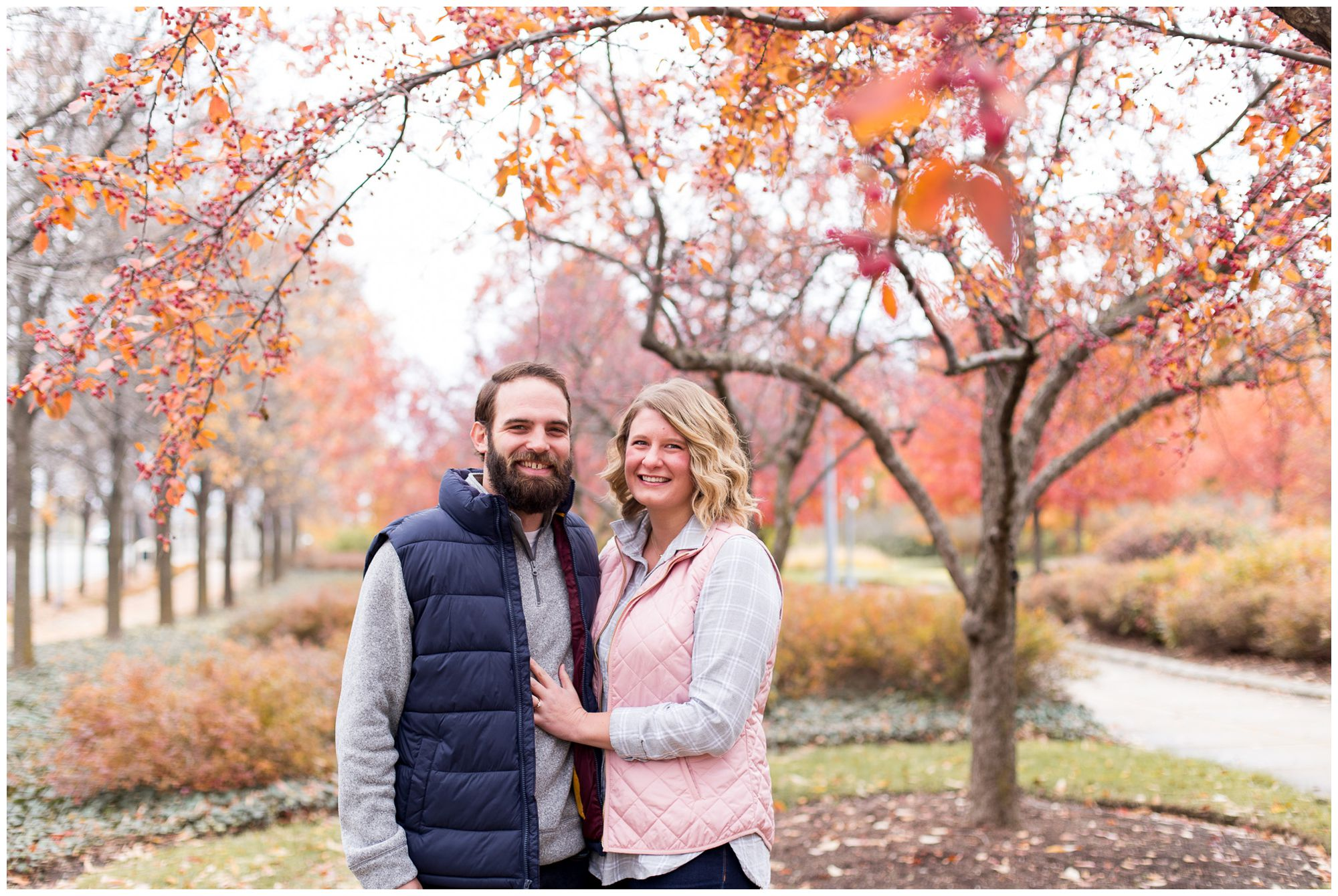 fall engagement session at Headwaters Park in Fort Wayne Indiana