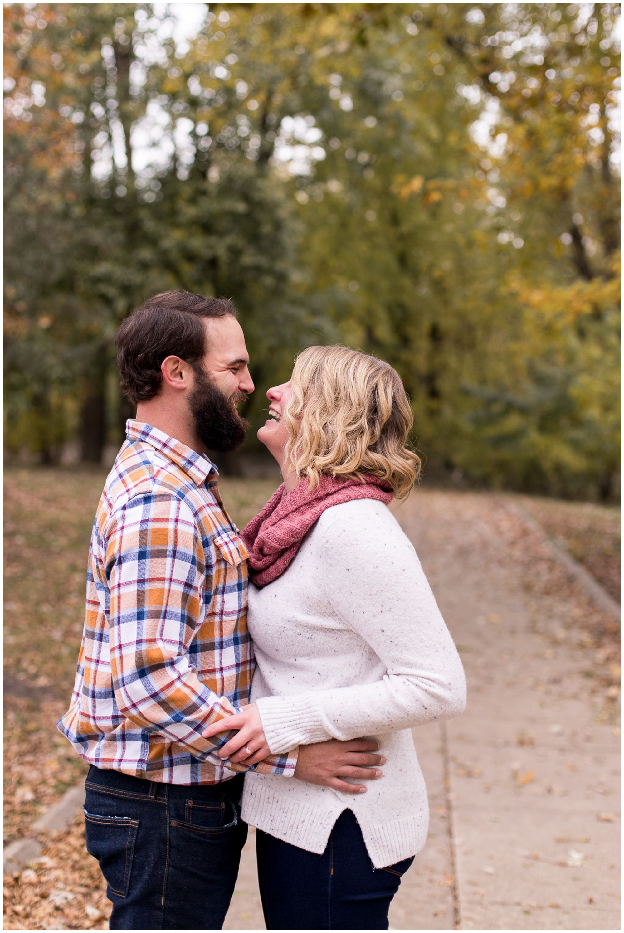 fall engagement session at Headwaters Park in downtown Fort Wayne Indiana