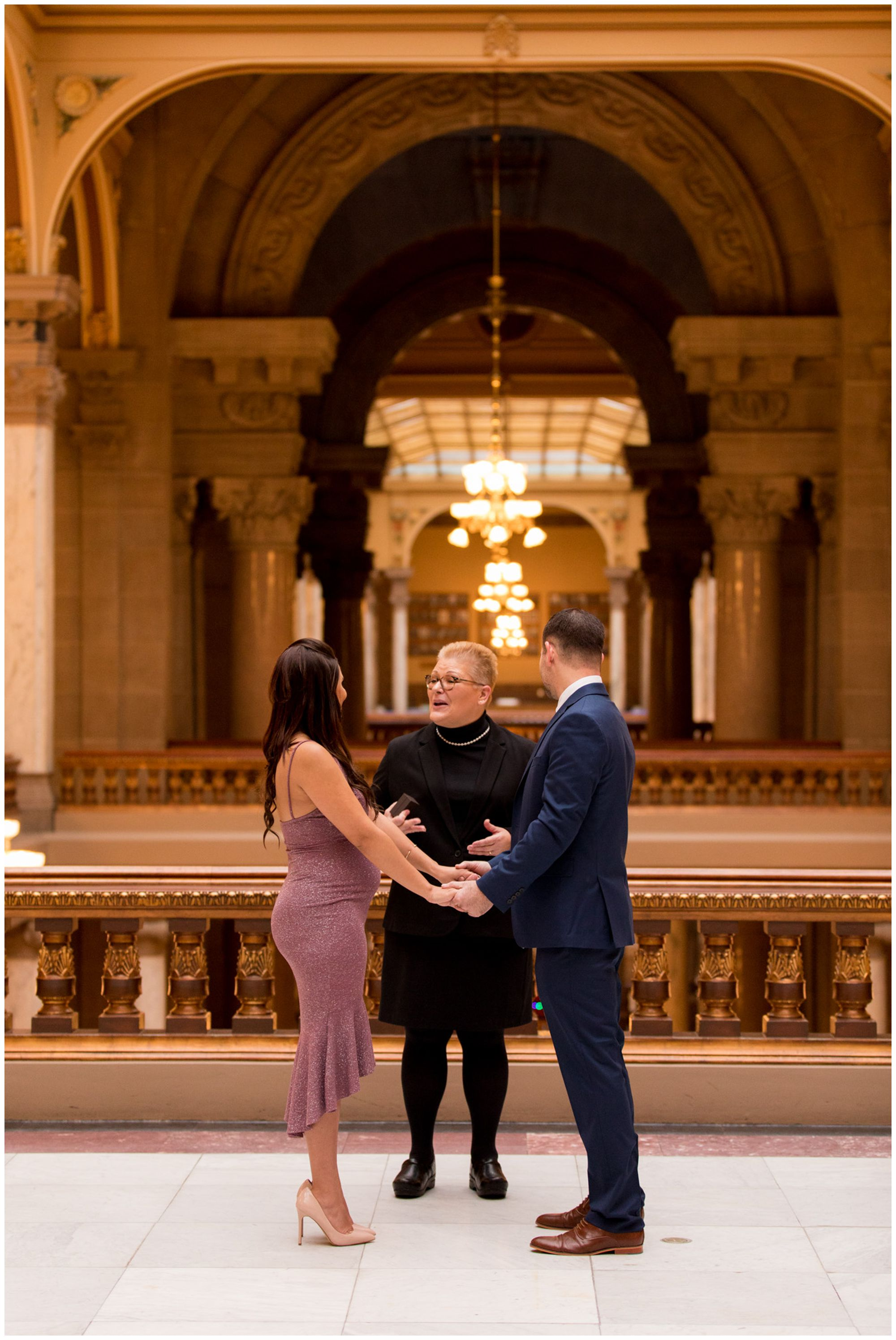 indoors downtown Indianapolis elopement ceremony at Indiana Statehouse