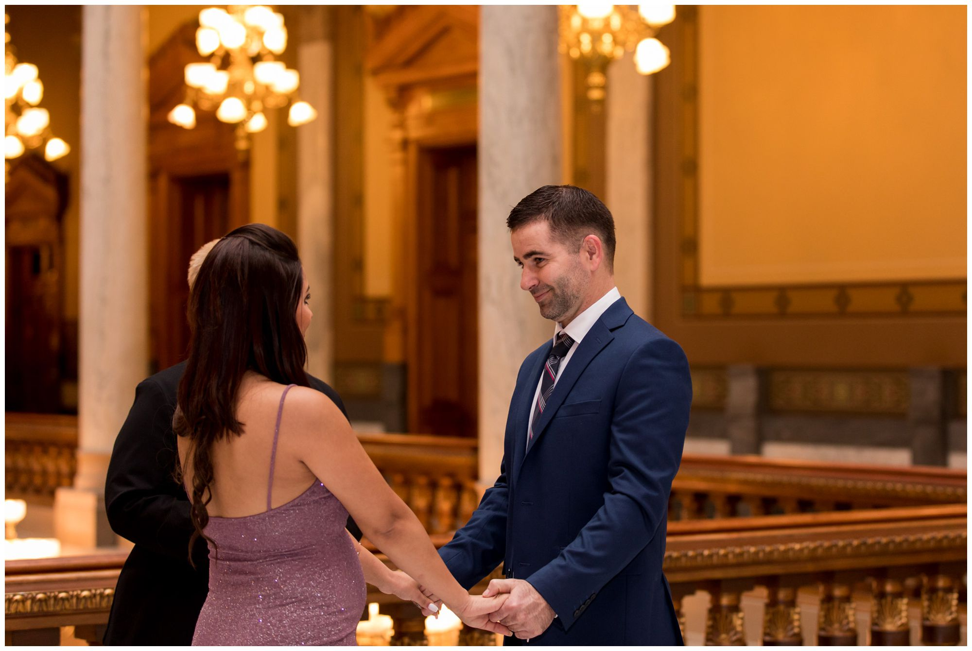 intimate elopement ceremony at Indiana Statehouse in downtown Indianapolis