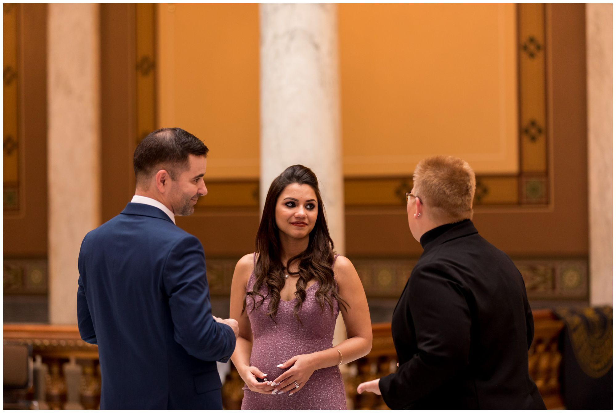 bride and groom during elopement ceremony at Indiana Statehouse in downtown Indianapolis