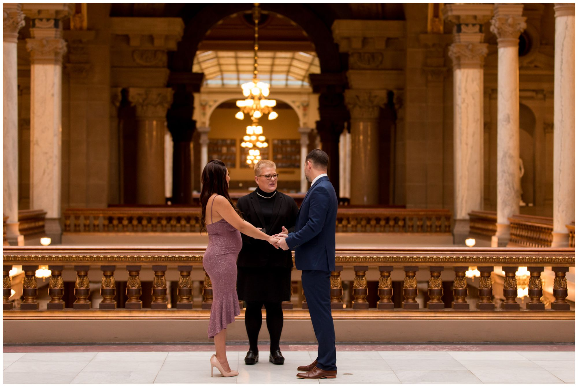 downtown Indianapolis elopement ceremony at Indiana Statehouse