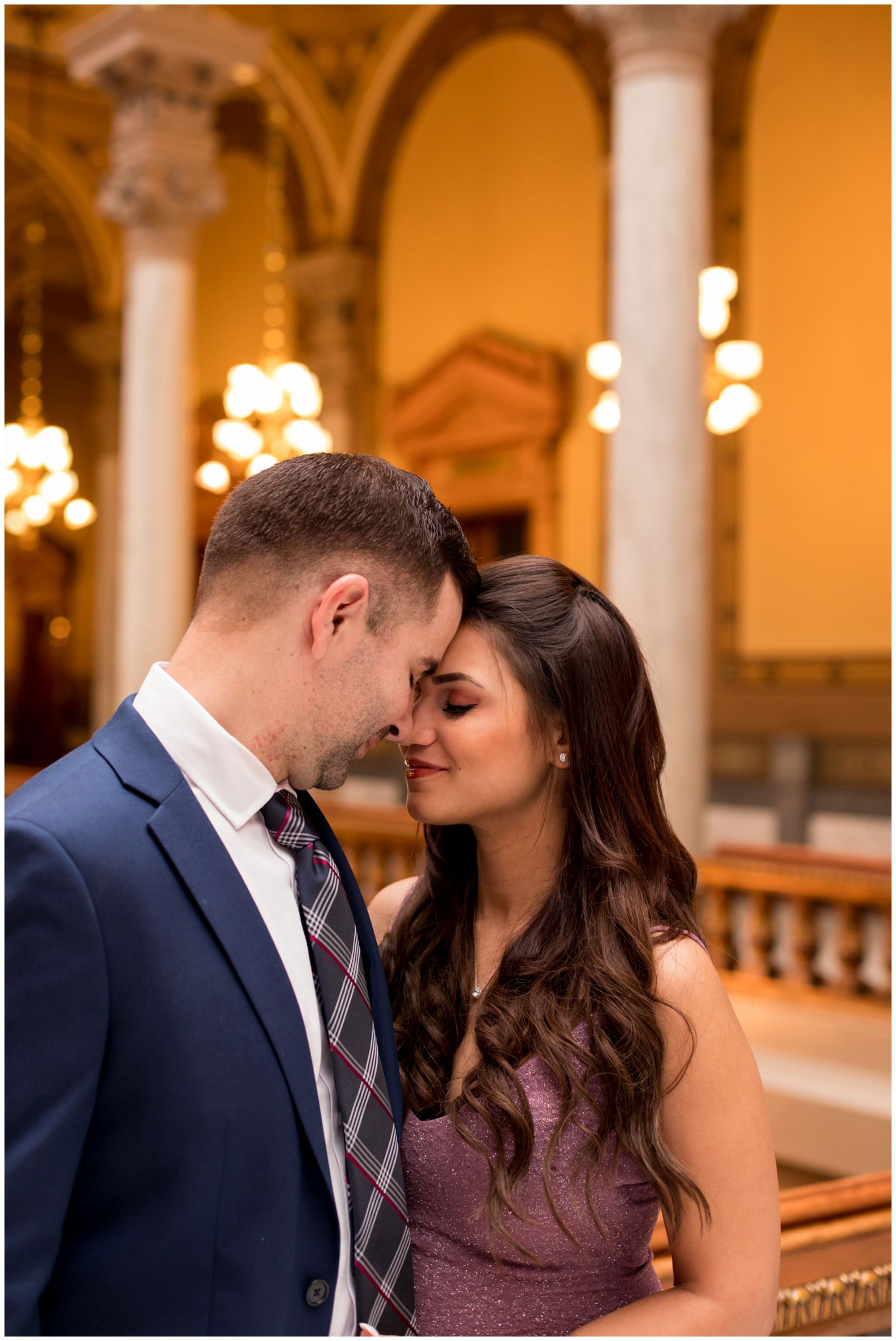 intimate bride and groom portraits after elopement ceremony at Indiana Statehouse in downtown Indy