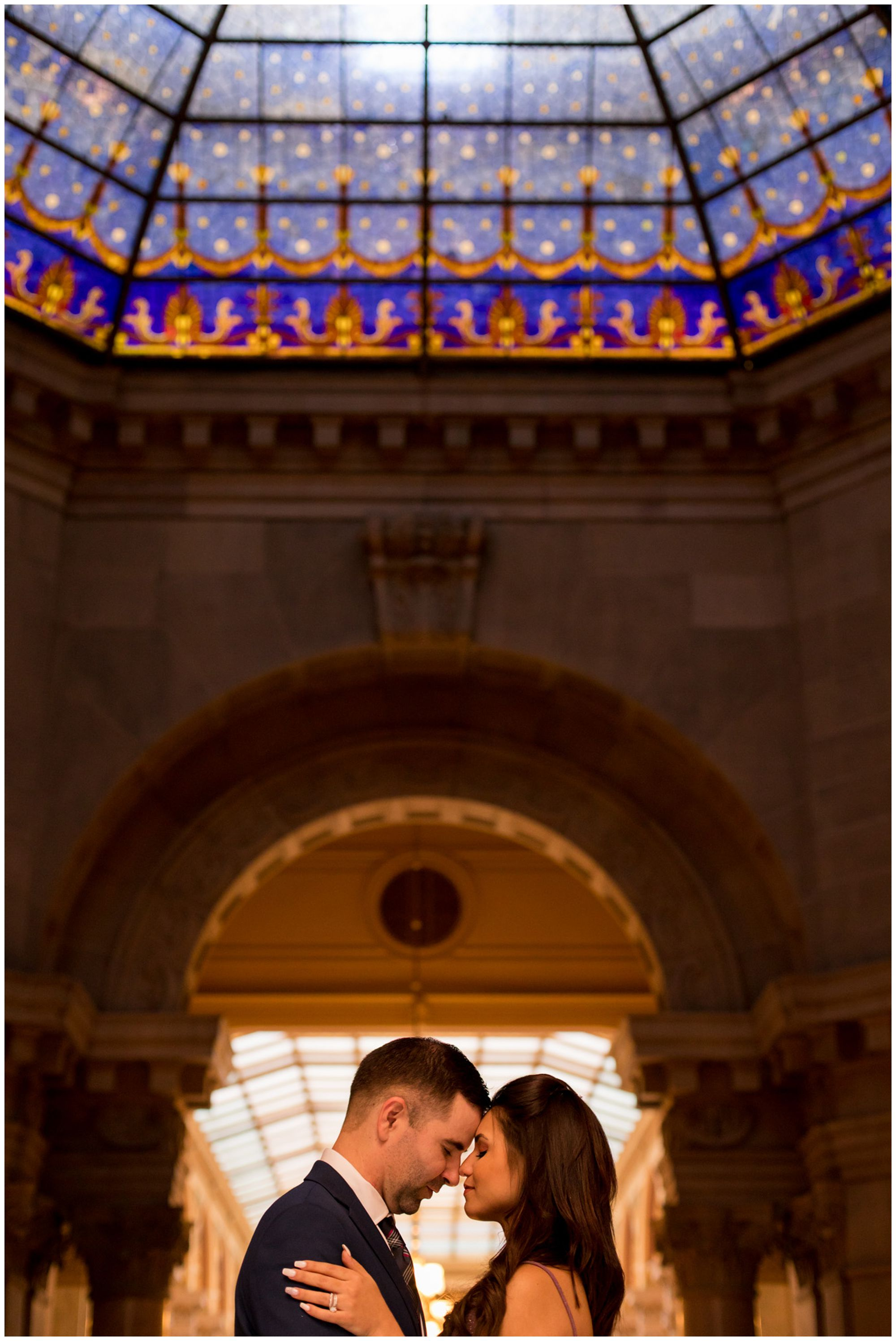 bride and groom during portraits after elopement ceremony in Indiana Statehouse in downtown Indianapolis
