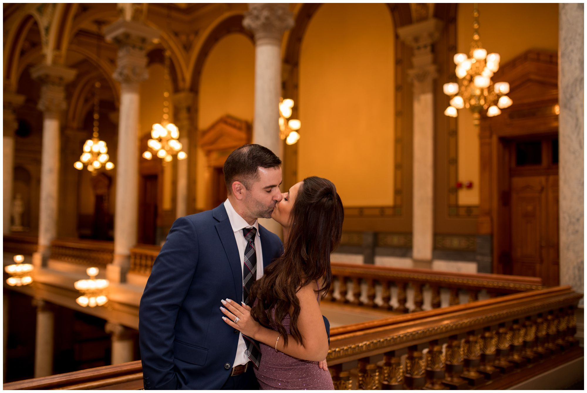 bride and groom kiss to celebrate elopement ceremony at Indiana Statehouse