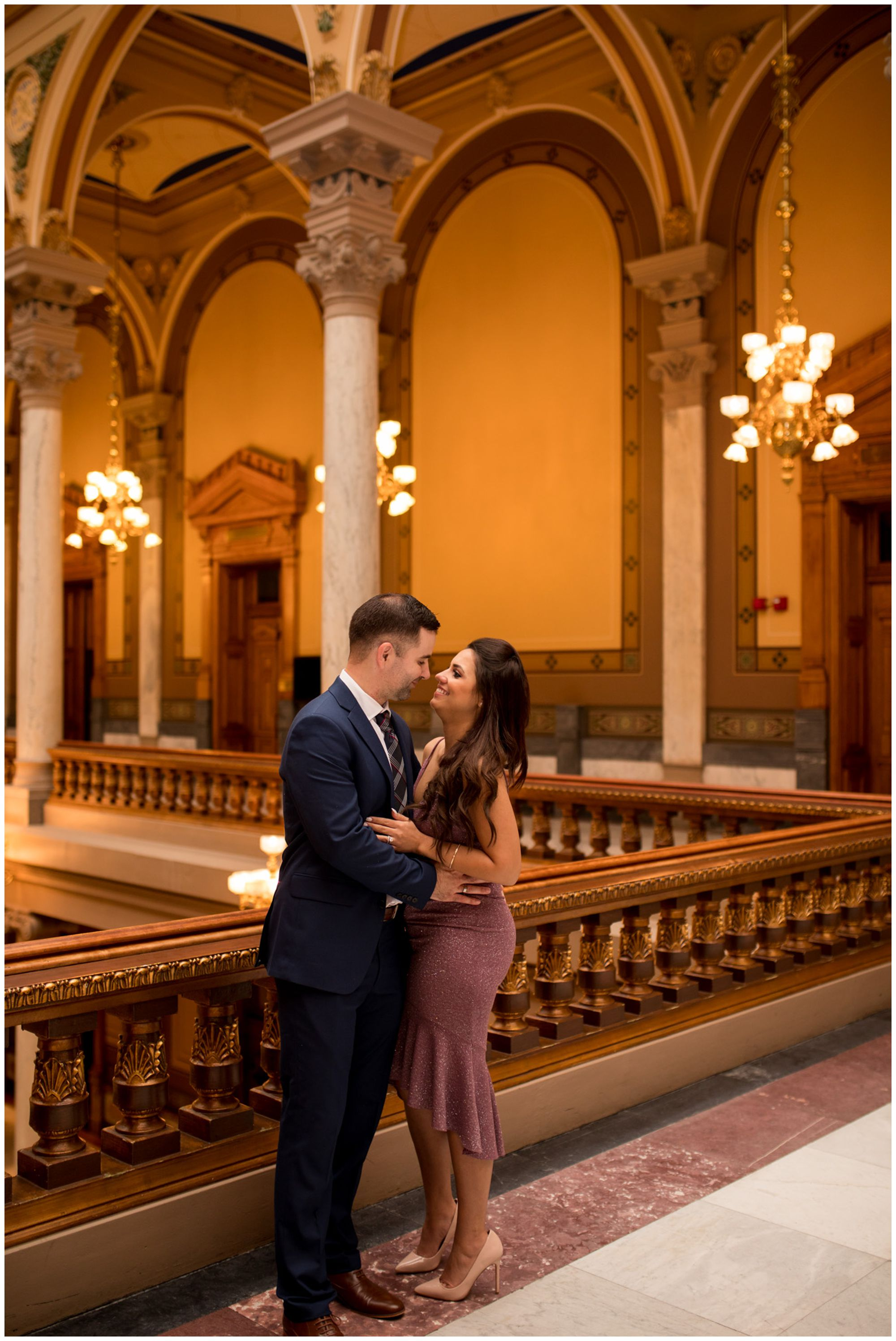bride and groom after downtown Indianapolis elopement at Indiana Statehouse