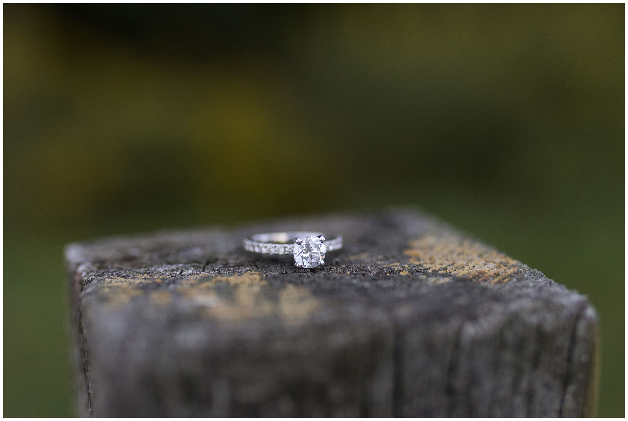 engagement ring during Fort Wayne engagement session at Metea County Park