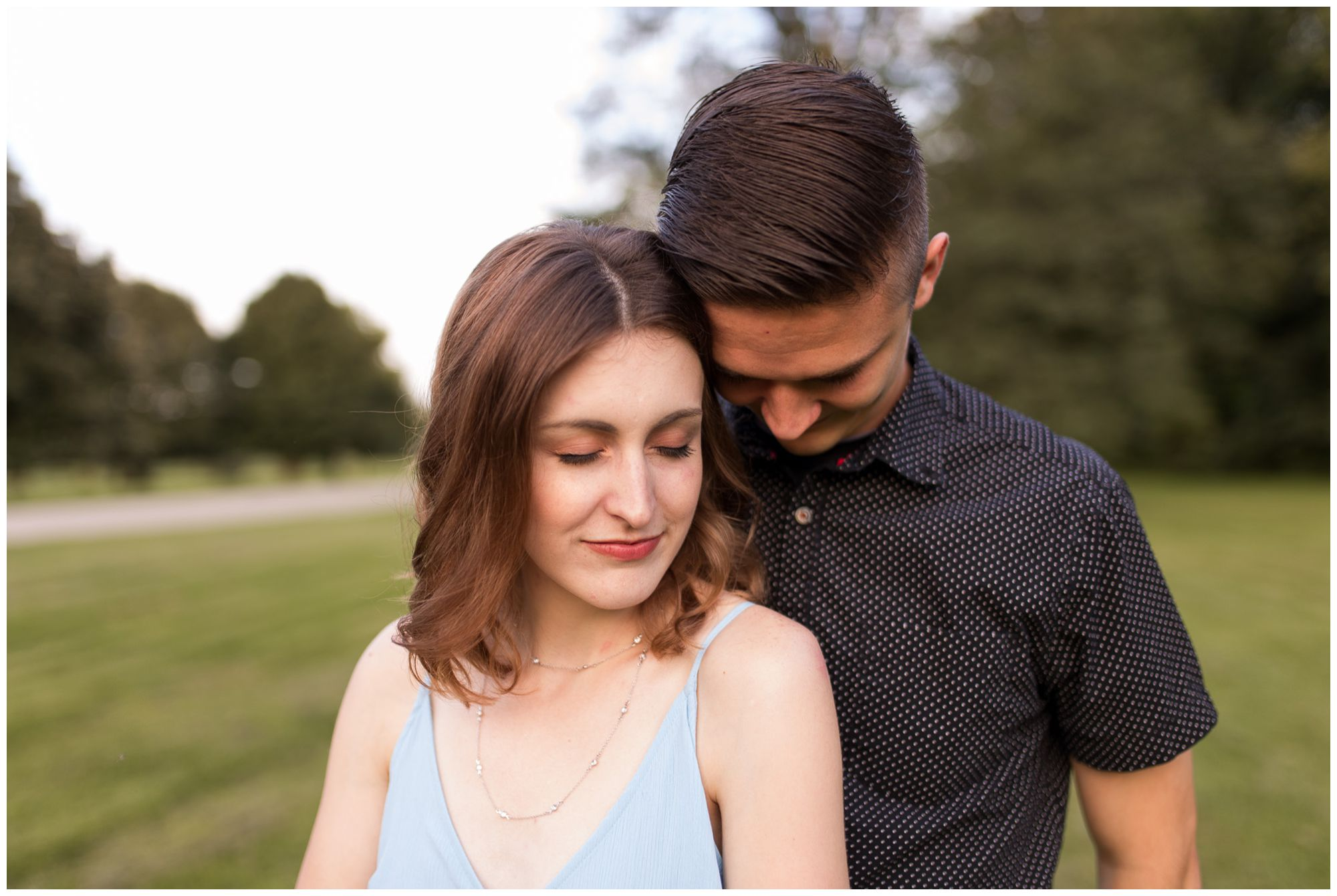couple during Foster Park engagement session in Fort Wayne Indiana