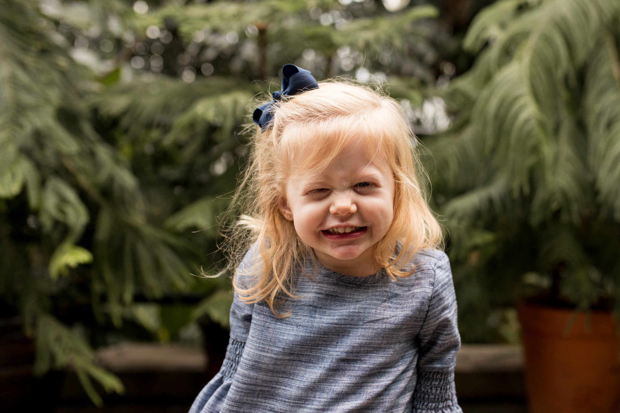 little girl during Fort Wayne family photography session at Foellinger-Freimann Botanical Conservatory