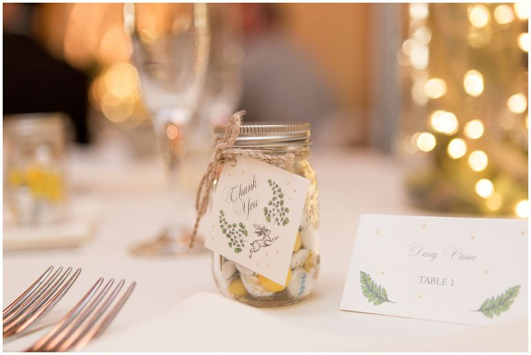 yellow-themed thank you gift during Minnetrista wedding reception in Muncie Indiana