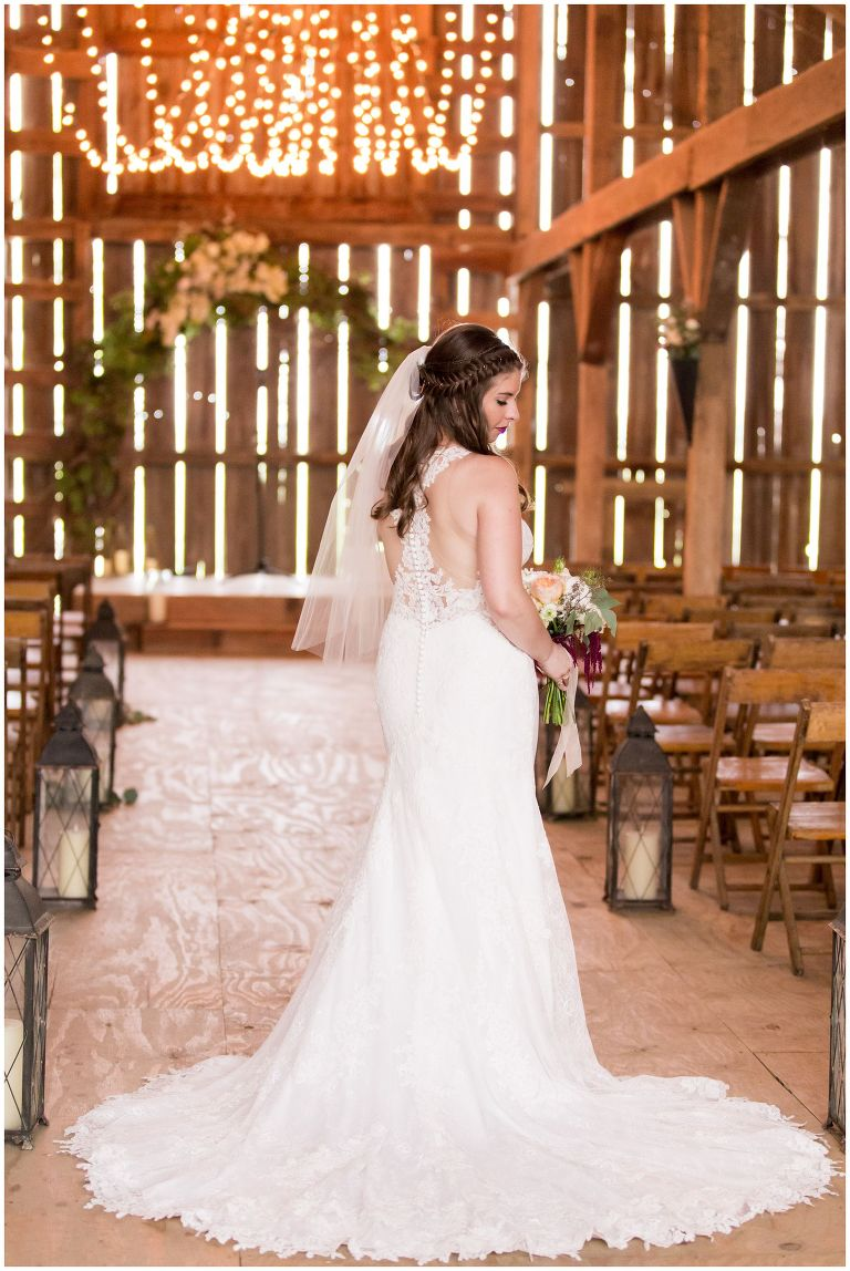 indoor barn bridal portraits at Barn on Boundary in Eaton Indiana