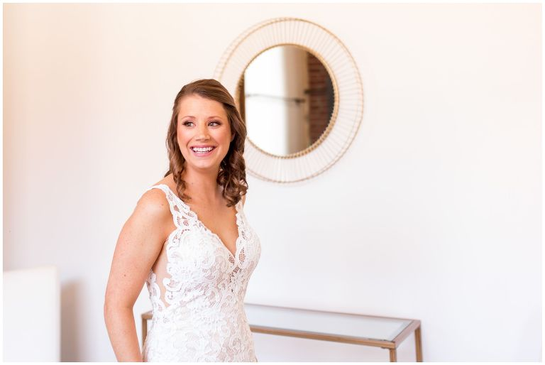 bride smiling when getting ready at INDUSTRY venue in downtown Indianapolis