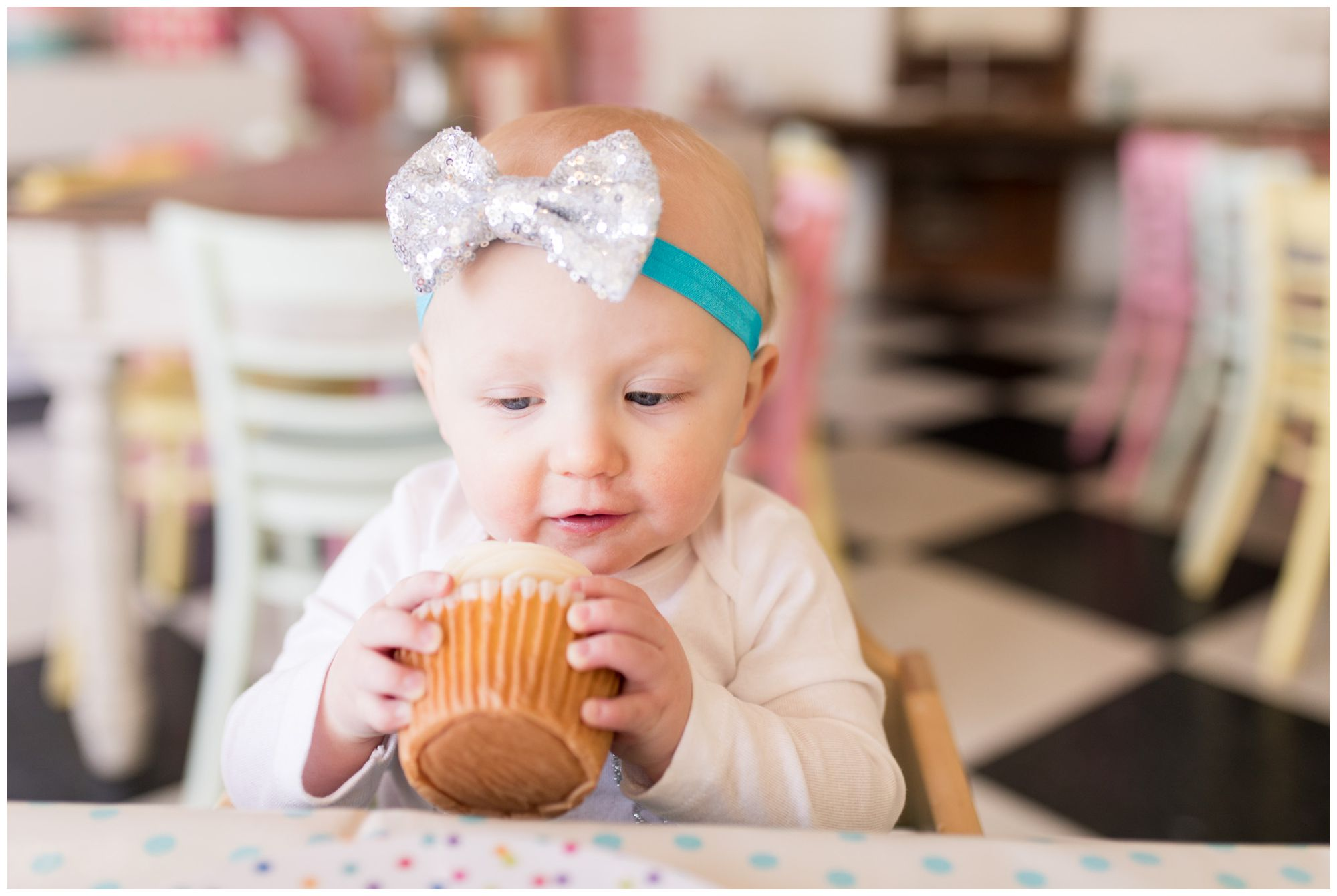 first birthday photos at The Flying Cupcake in Carmel Indiana