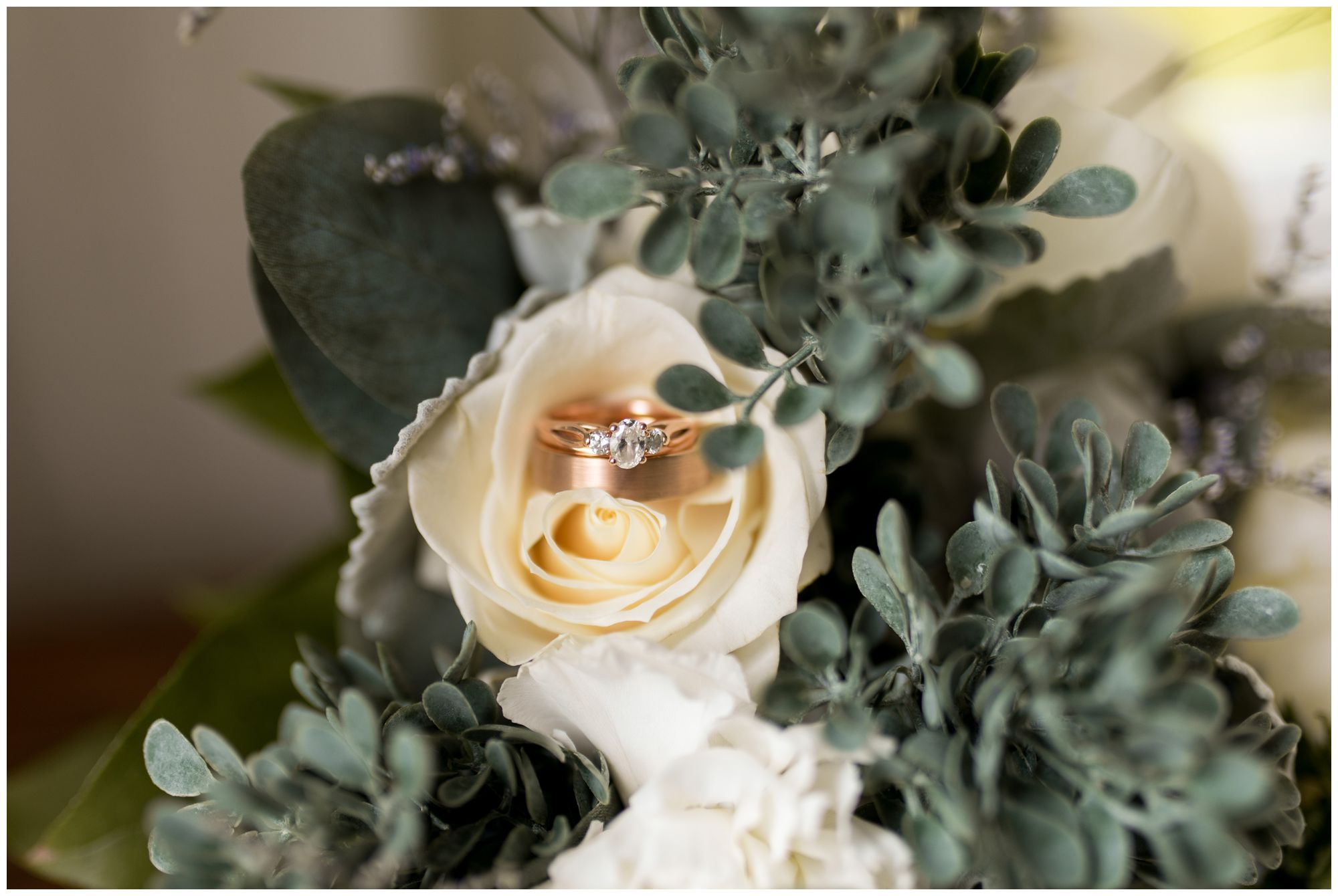 bride's engagement ring inside bouquet before wedding ceremony in Muncie Indiana