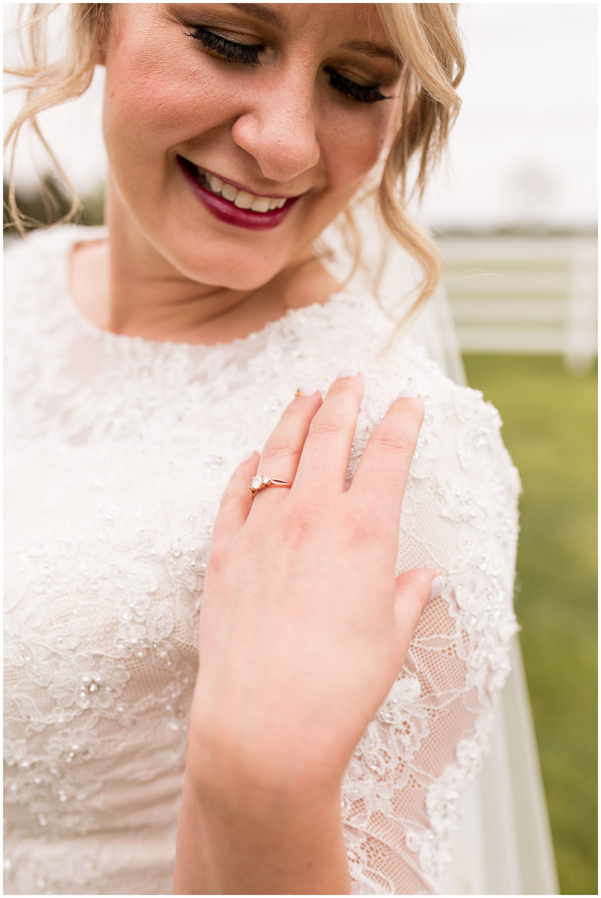 close up on bride's engagement ring before wedding ceremony at Muncie First Church of the Nazarene