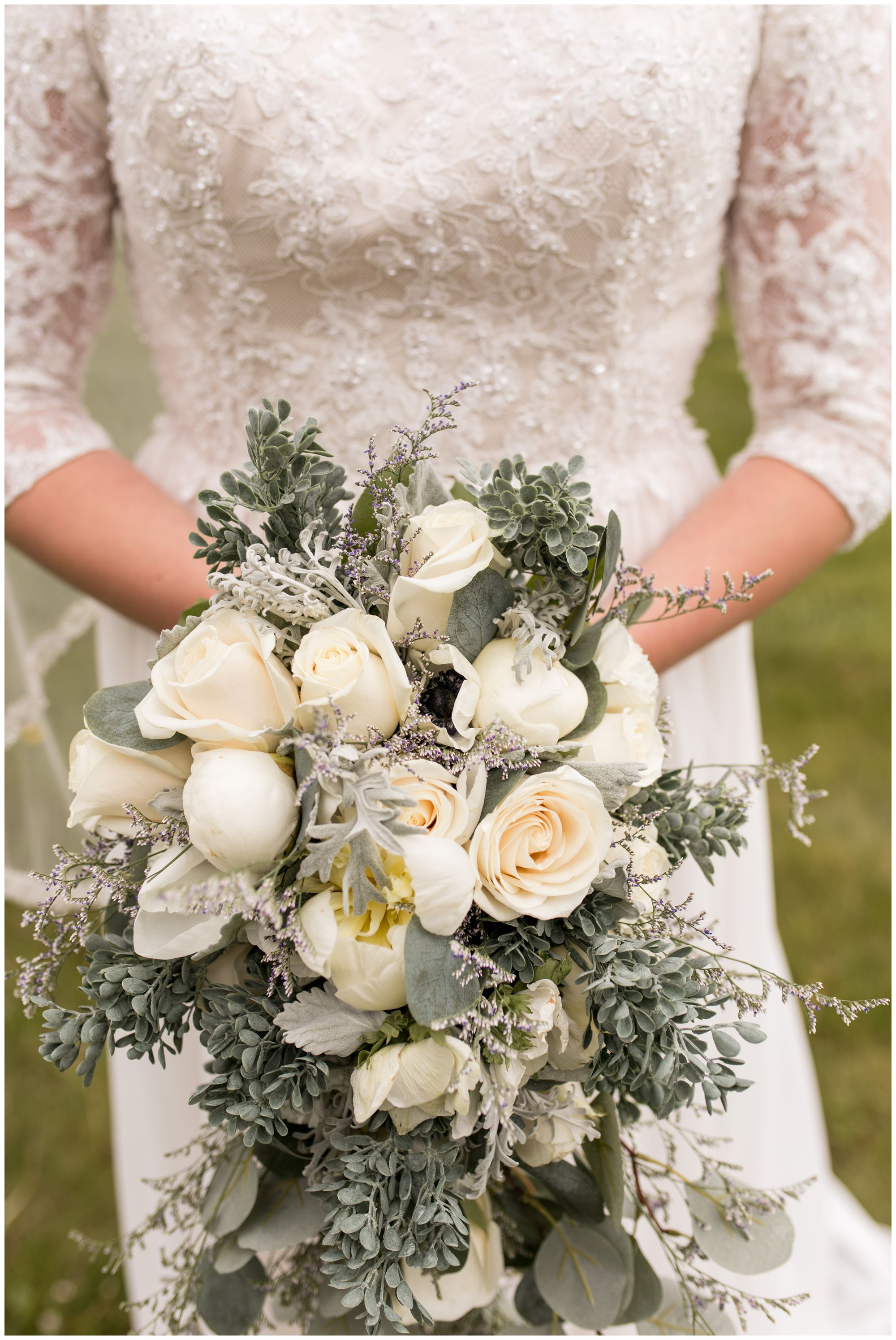 close up of bride's bouquet before Muncie wedding ceremony